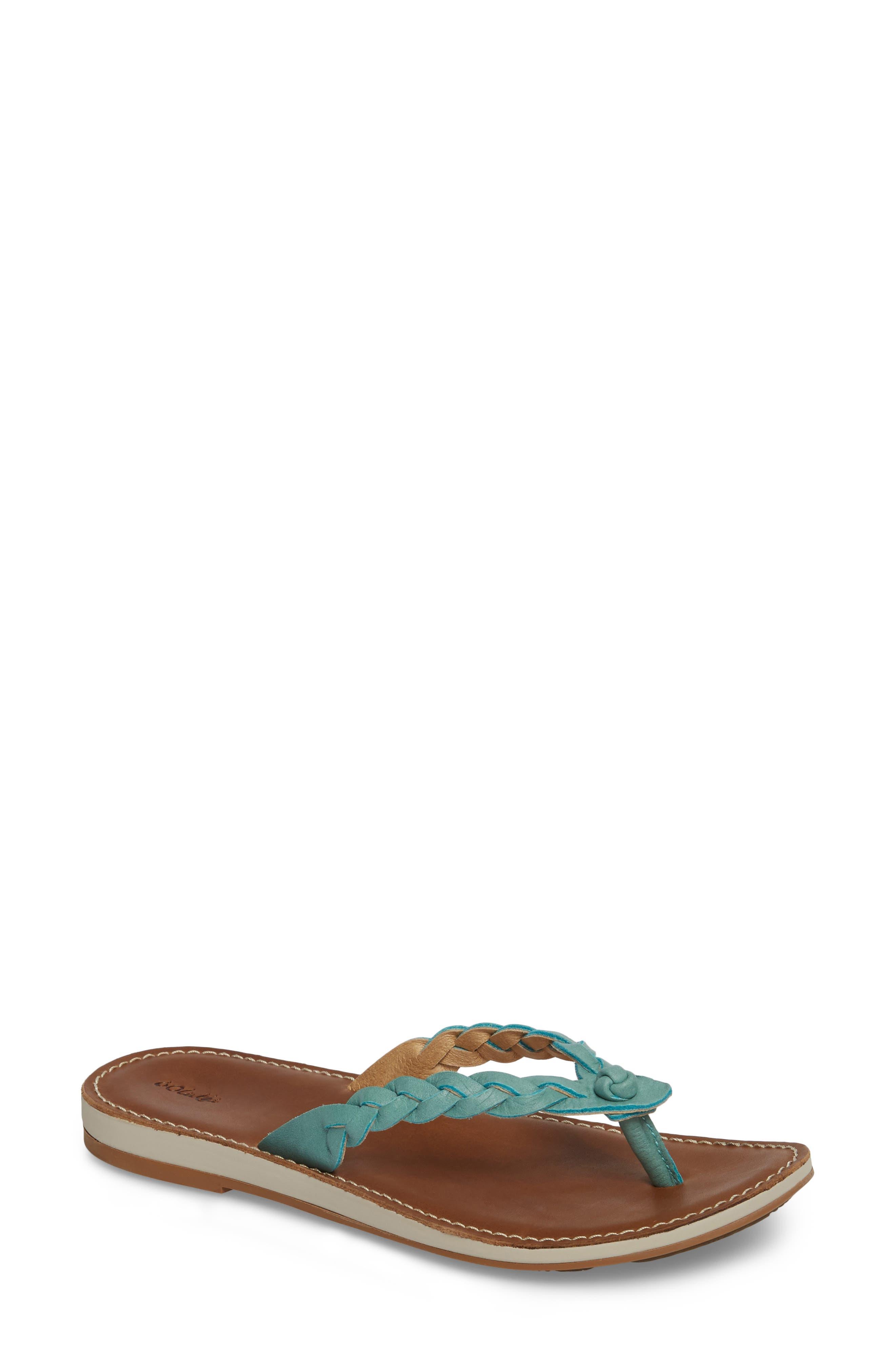 Kahiko Flip-Flop,                             Main thumbnail 1, color,                             Sea/ Tan Leather