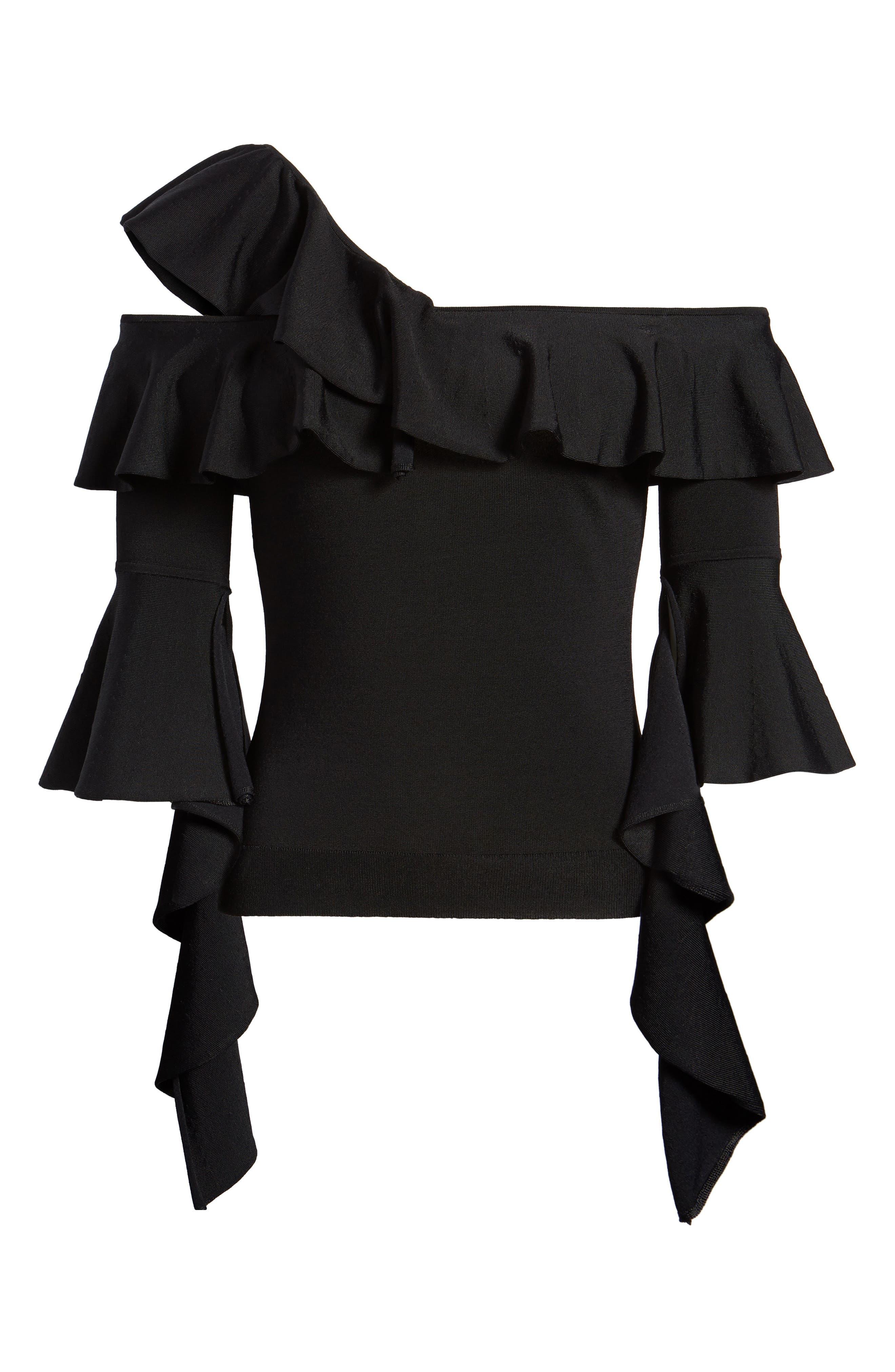 Cascading Ruffle One-Shoulder Top,                             Alternate thumbnail 6, color,                             Black