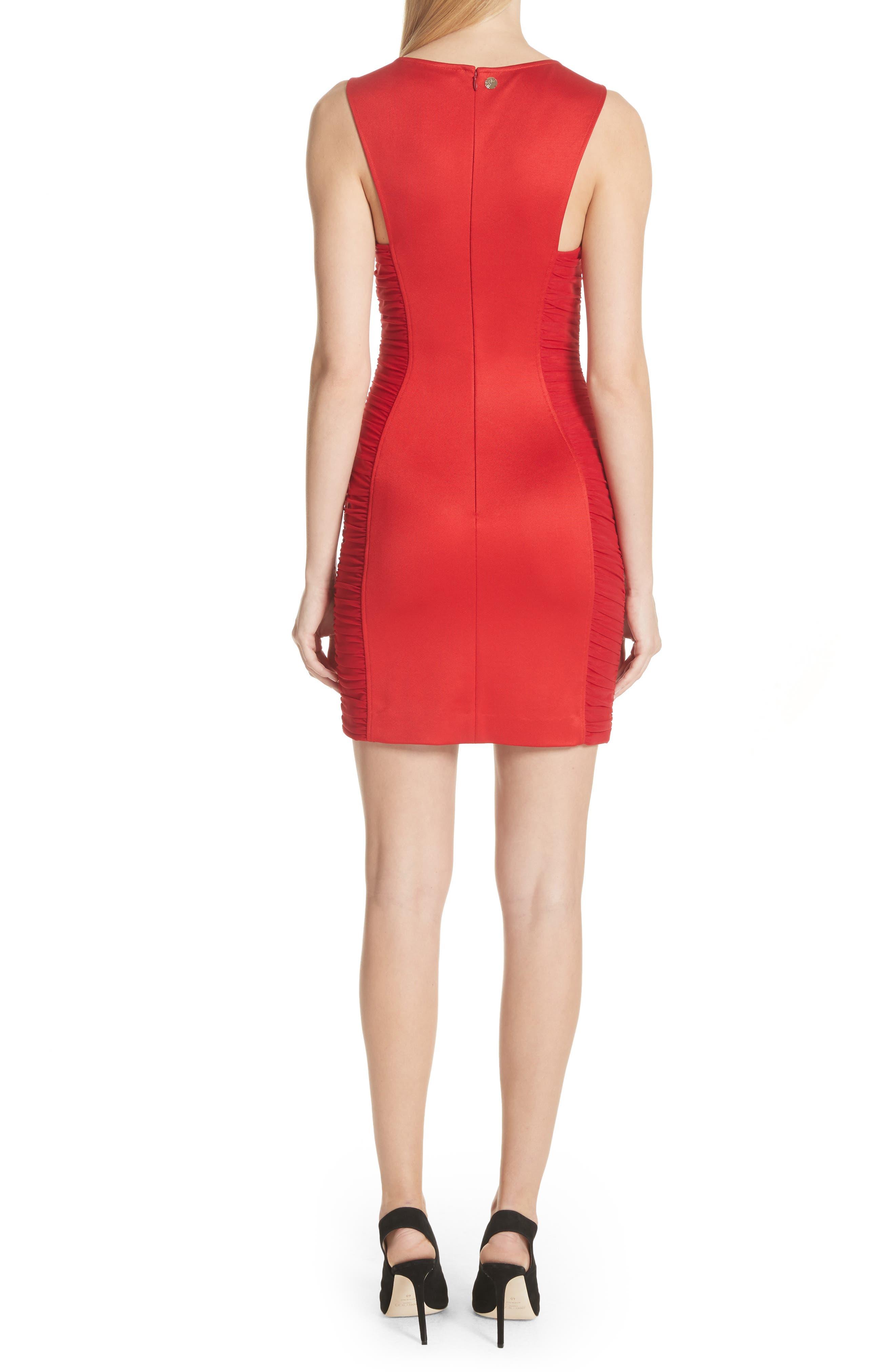 Ruched Piqué Sheath Dress,                             Alternate thumbnail 2, color,                             Red