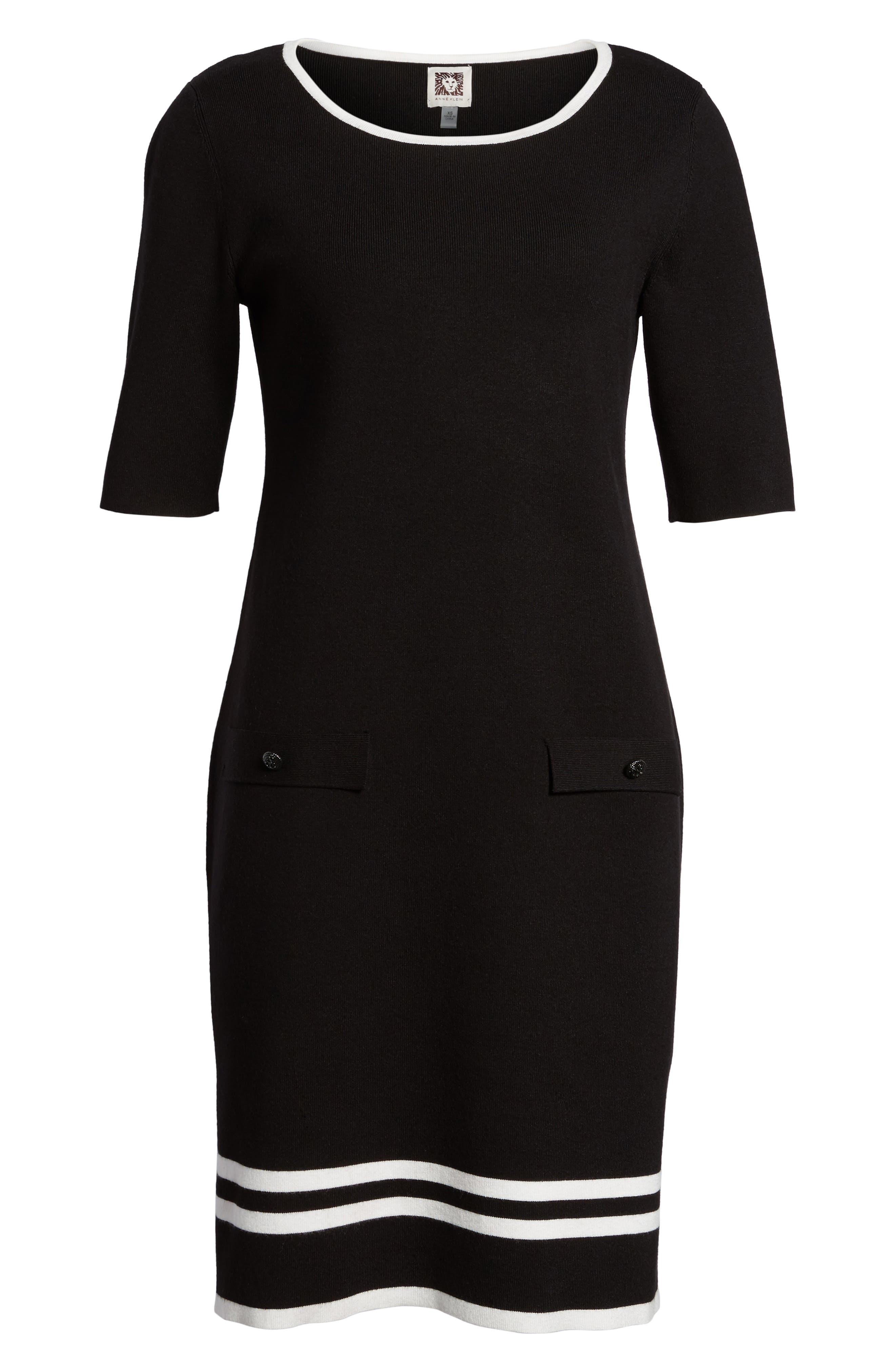 Ann Klein New York Stripe Border Knit Sheath Dress,                             Alternate thumbnail 7, color,                             Black/ White