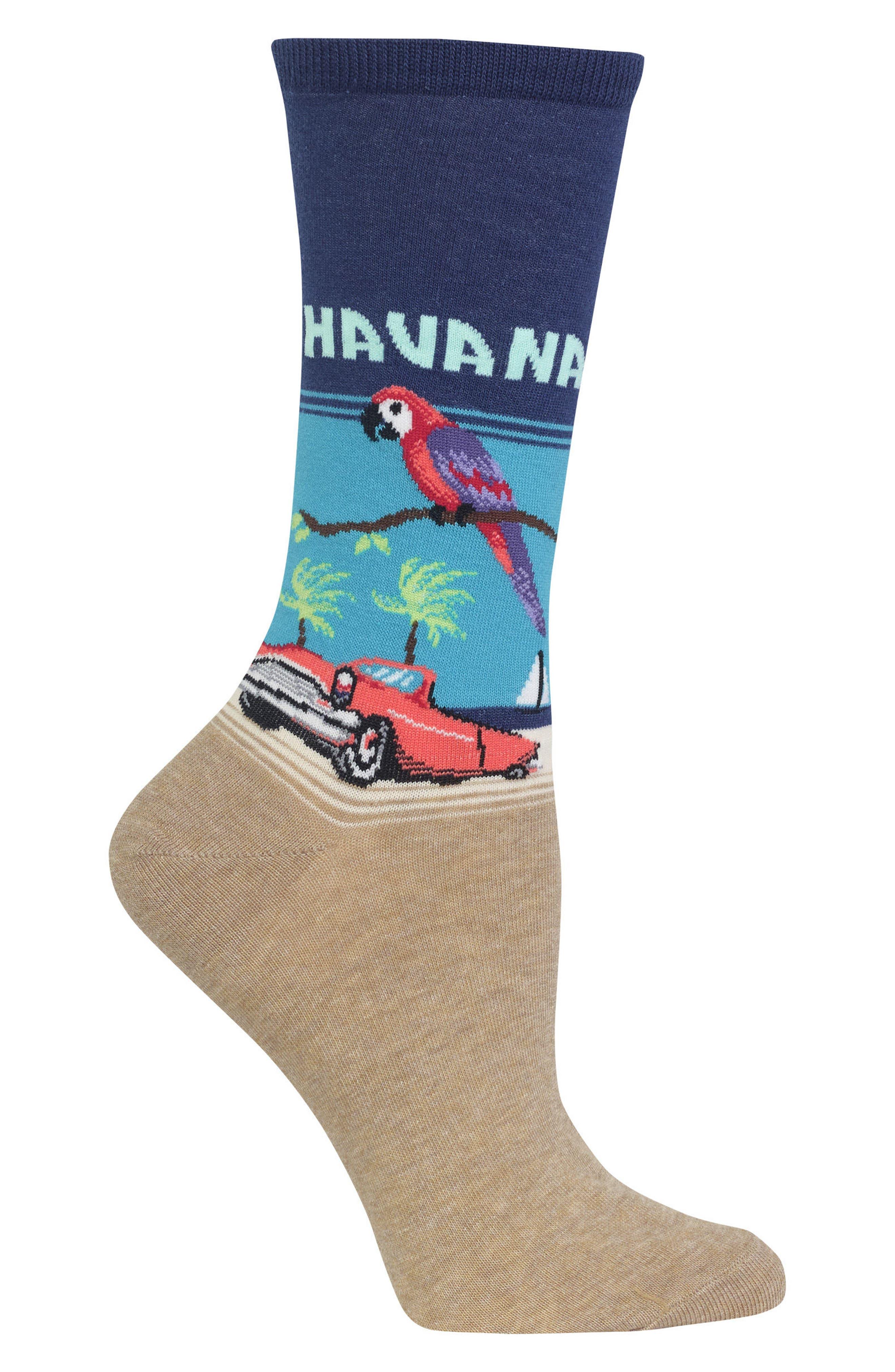Havana Crew Socks,                             Alternate thumbnail 3, color,                             Dark Blue