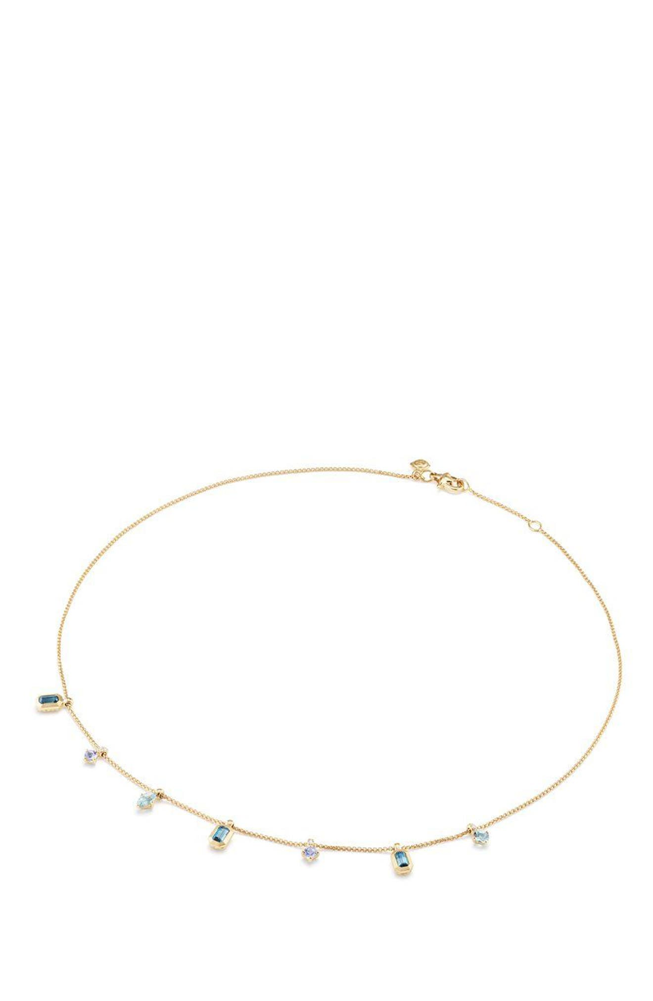 Novella Necklace in 18K Gold,                             Alternate thumbnail 2, color,                             Gold/ Diamond/ Blue Topaz