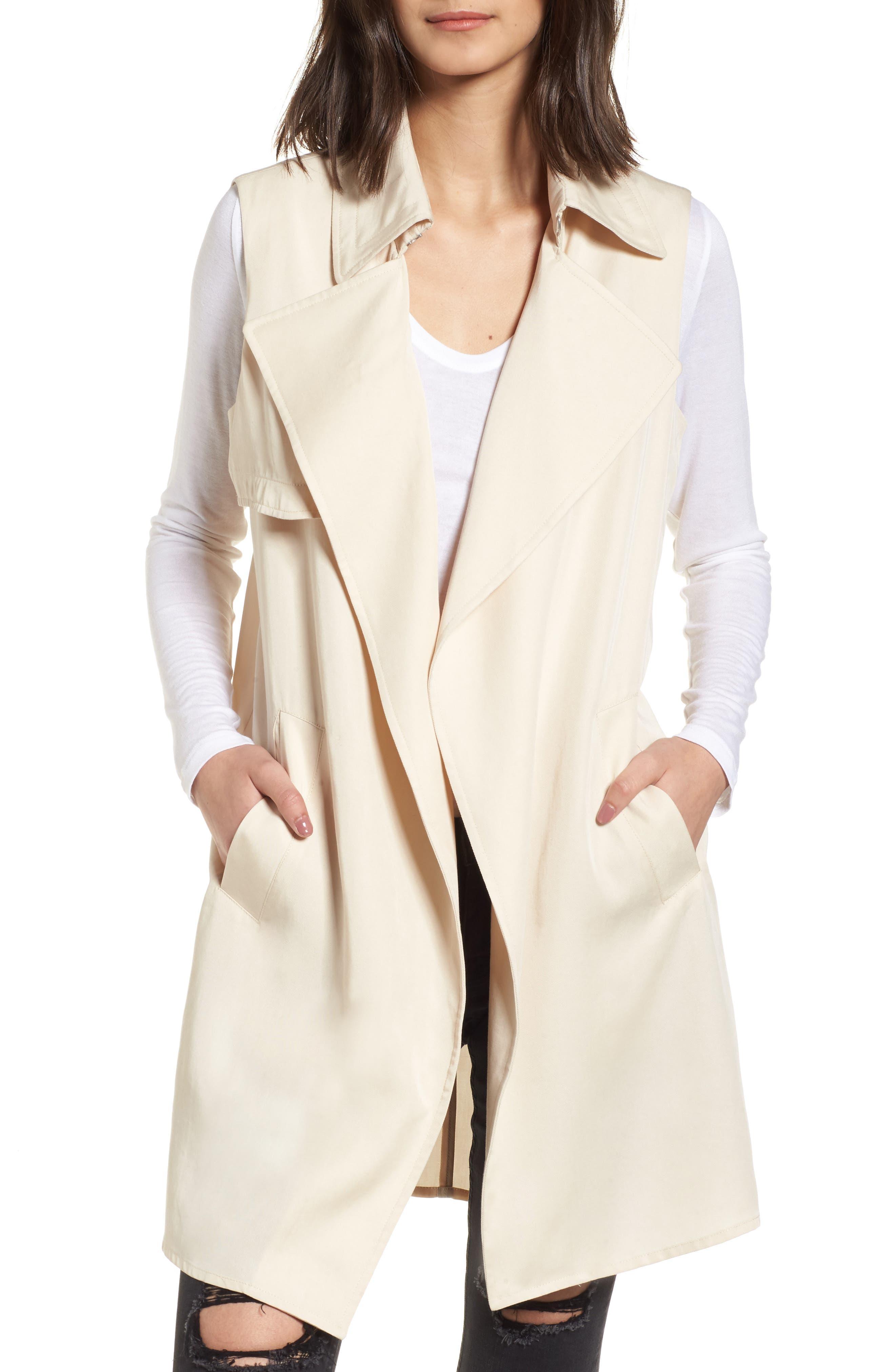 Zoe Longline Trench Vest,                         Main,                         color, Beige
