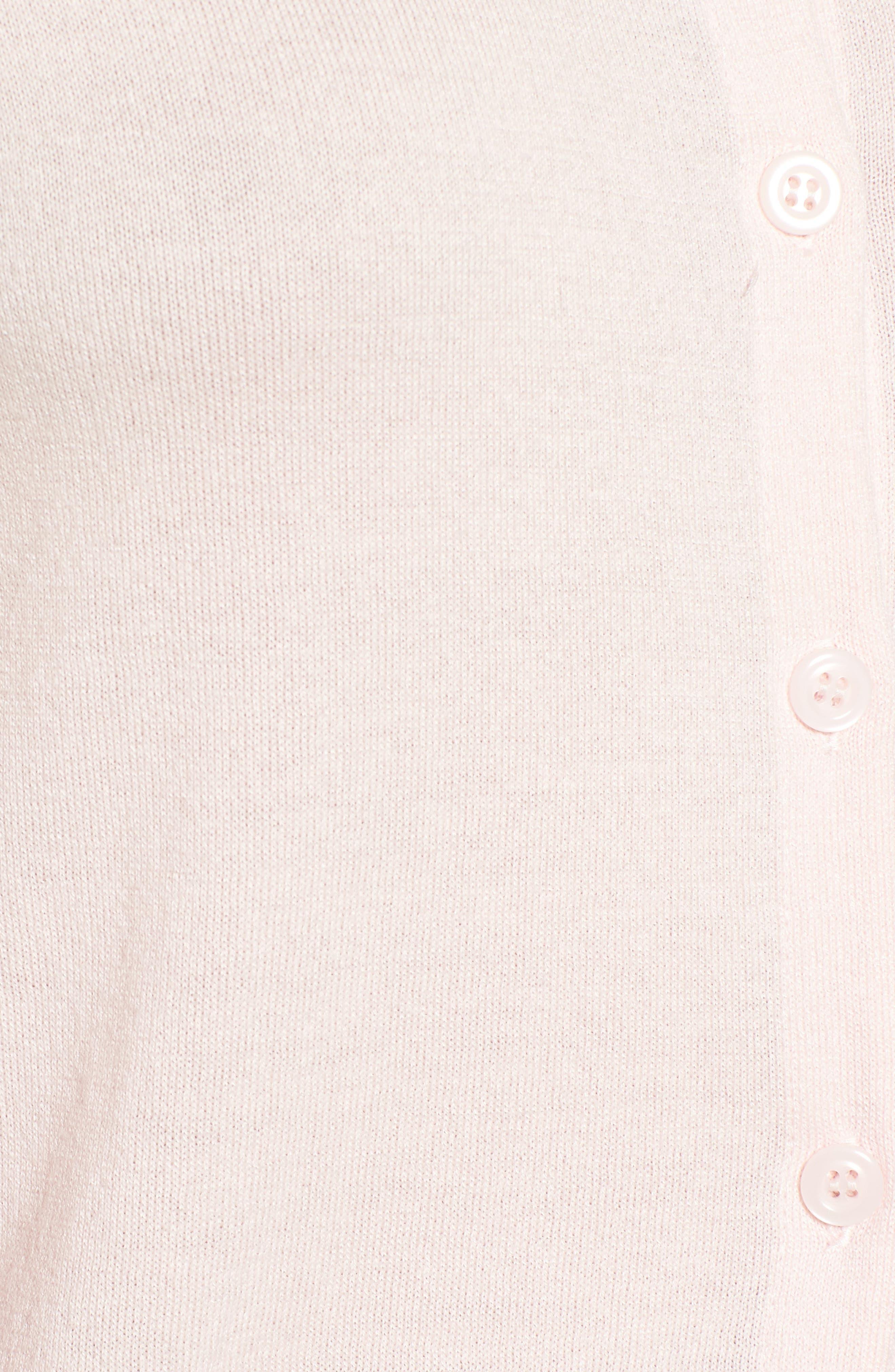 Cotton Blend Cardigan,                             Alternate thumbnail 6, color,                             Pink Potpourri