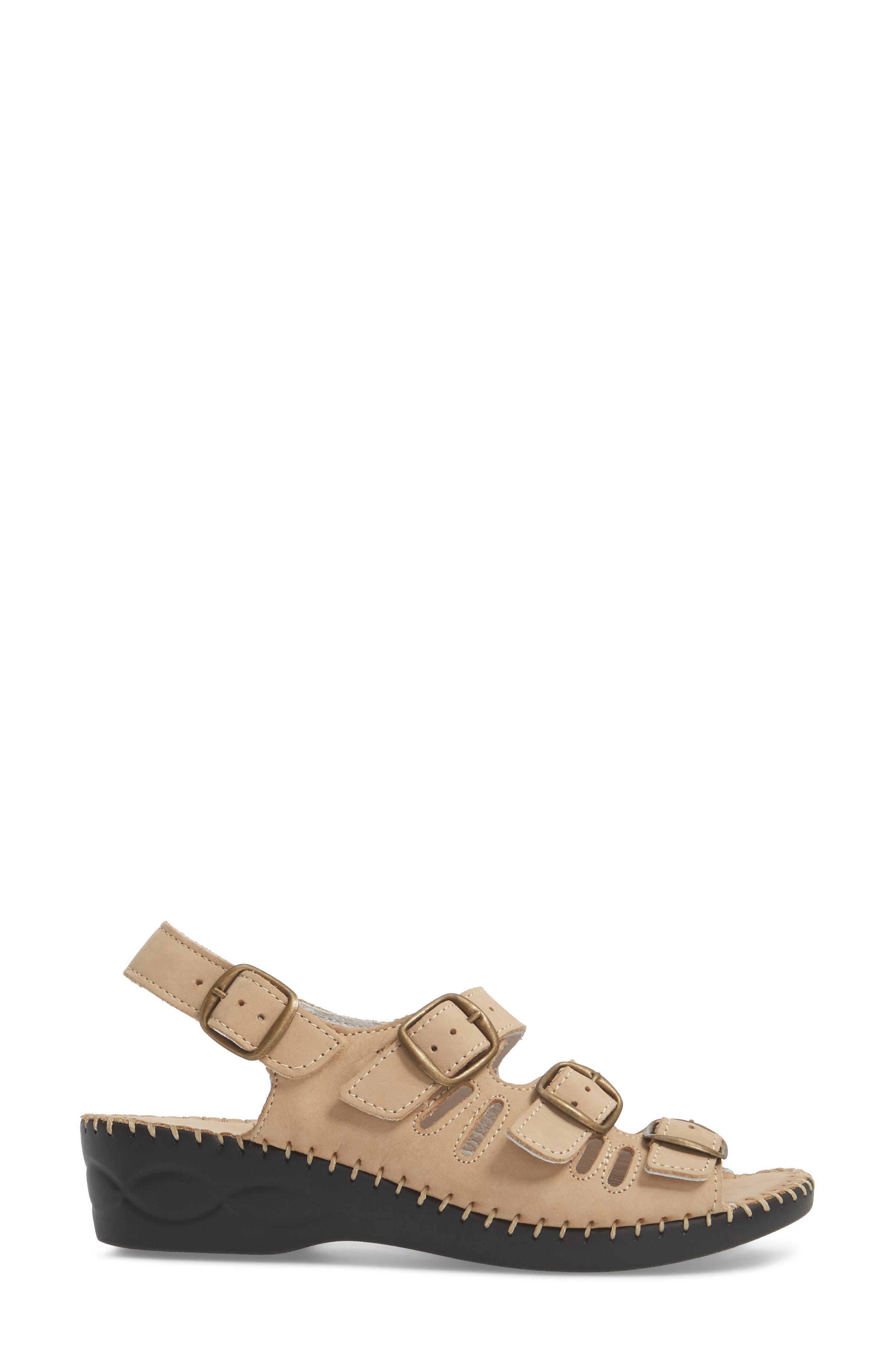 Luna Slingback Wedge Sandal,                             Alternate thumbnail 3, color,                             Cappuccino Nubuck