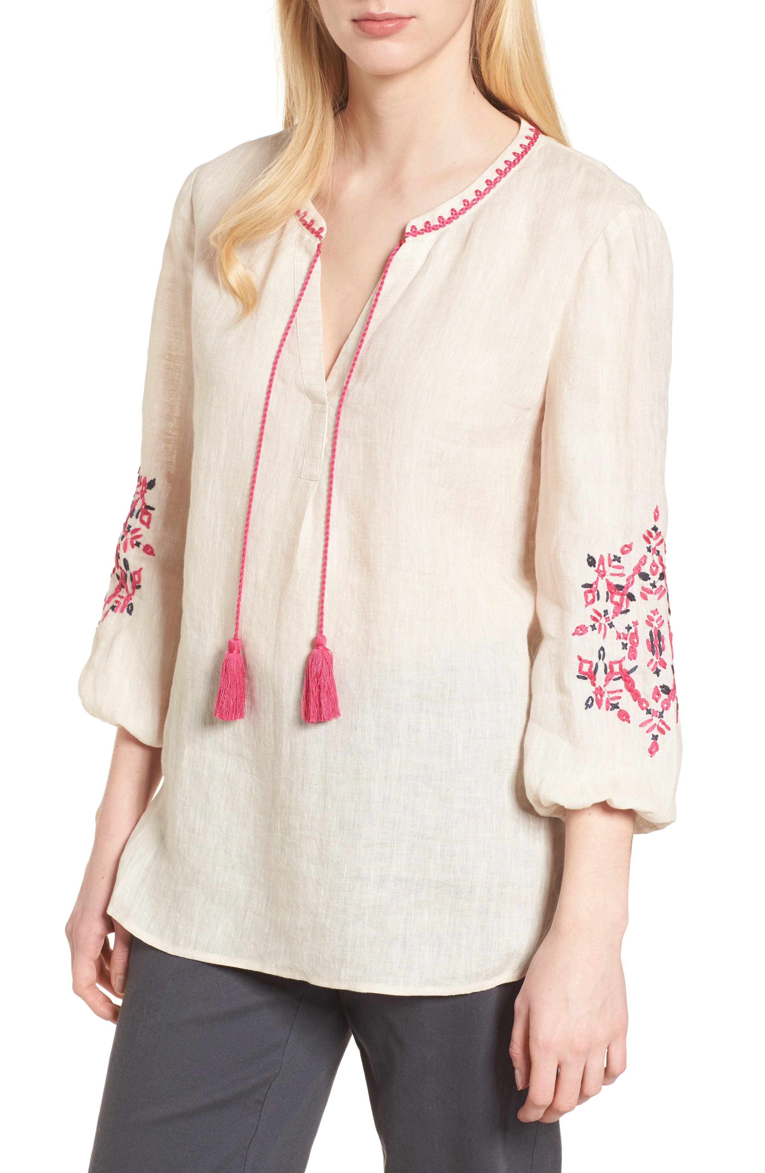 Flora Embroidered Linen Top,                             Main thumbnail 1, color,                             Sand Wash Mix