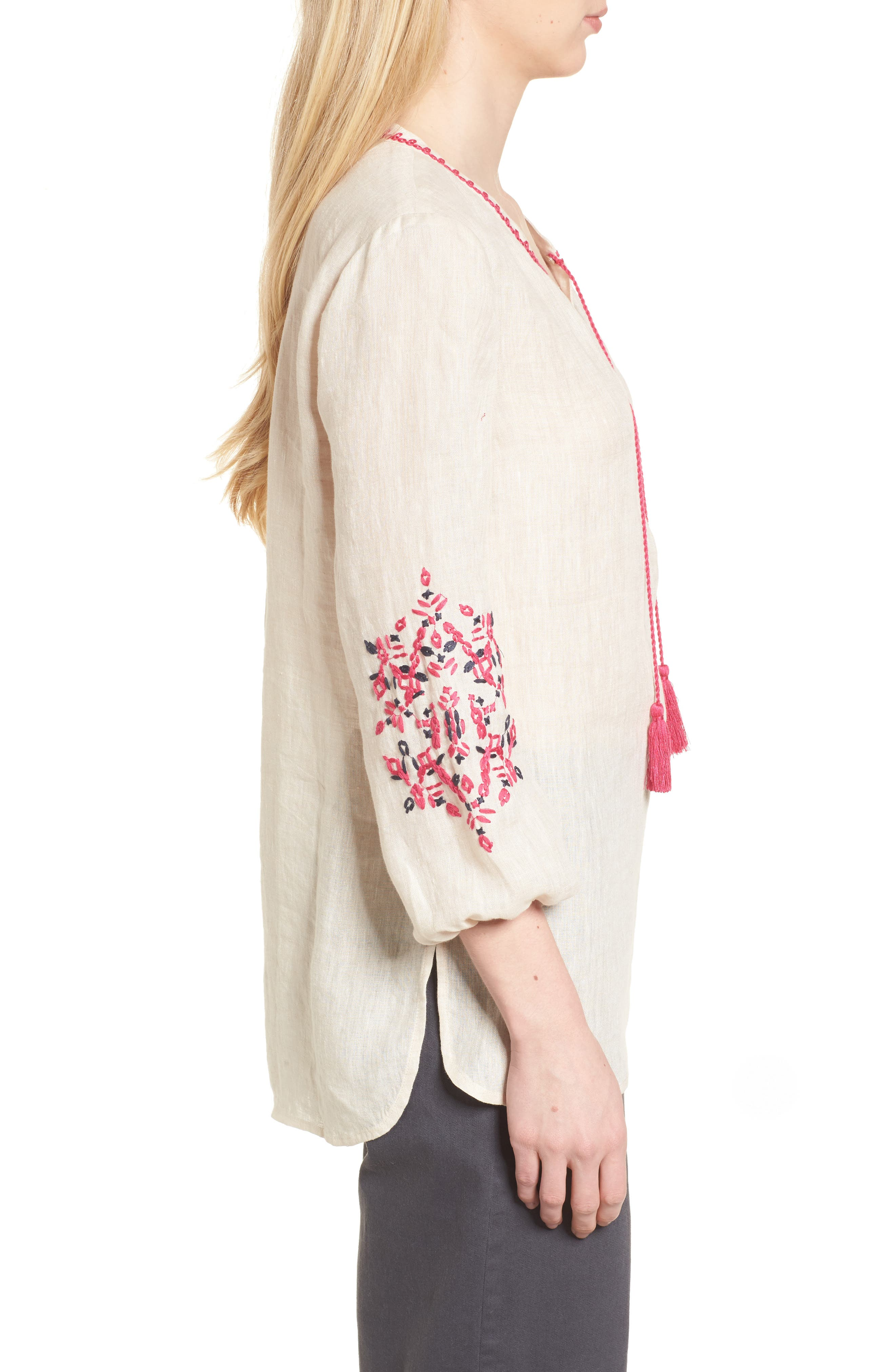 Flora Embroidered Linen Top,                             Alternate thumbnail 4, color,                             Sand Wash Mix