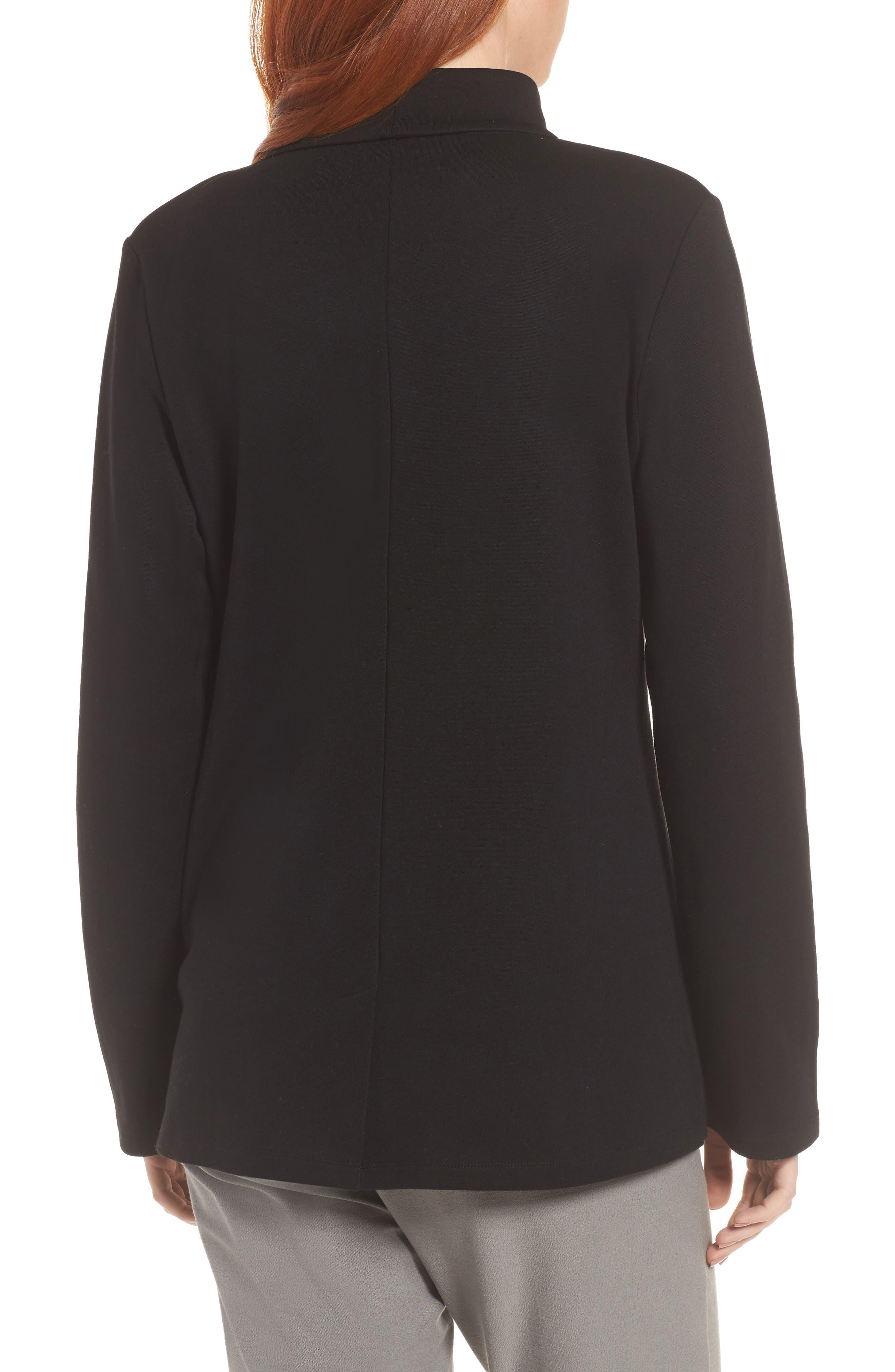 Tencel<sup>®</sup> Lyocell Blend Knit Blazer,                             Alternate thumbnail 2, color,                             Black