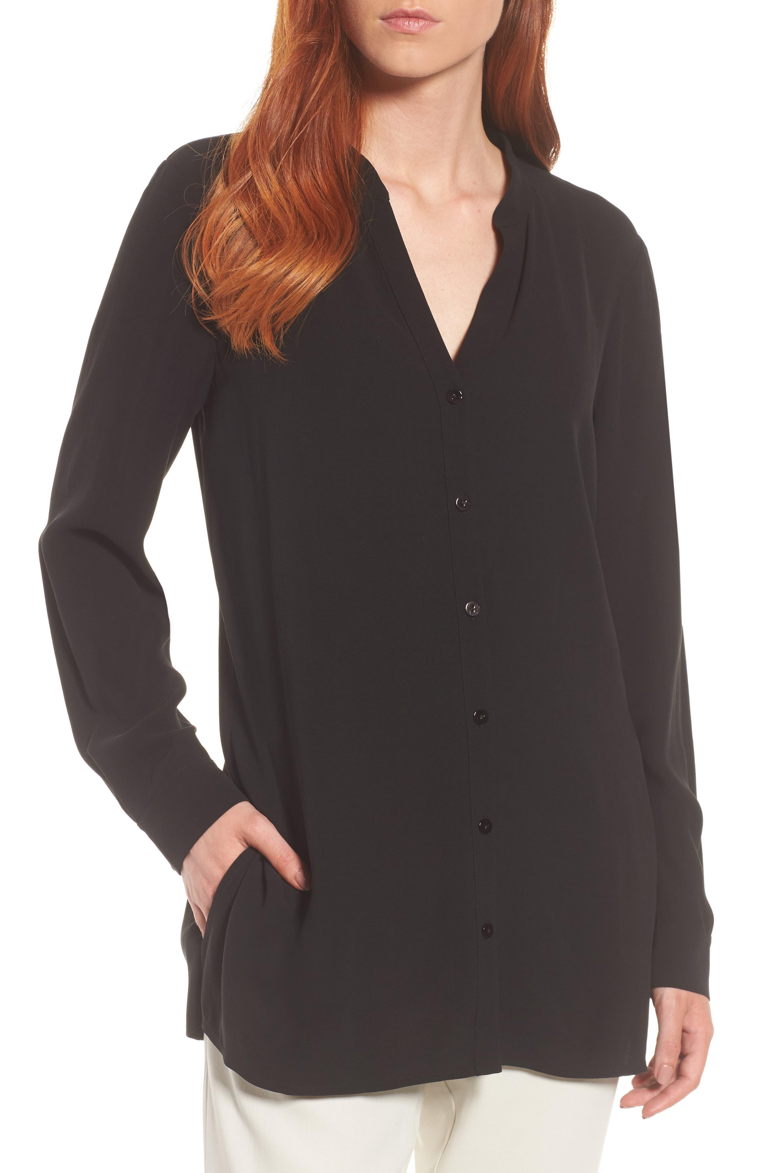 Eileen Fisher Split Neck Silk Blouse