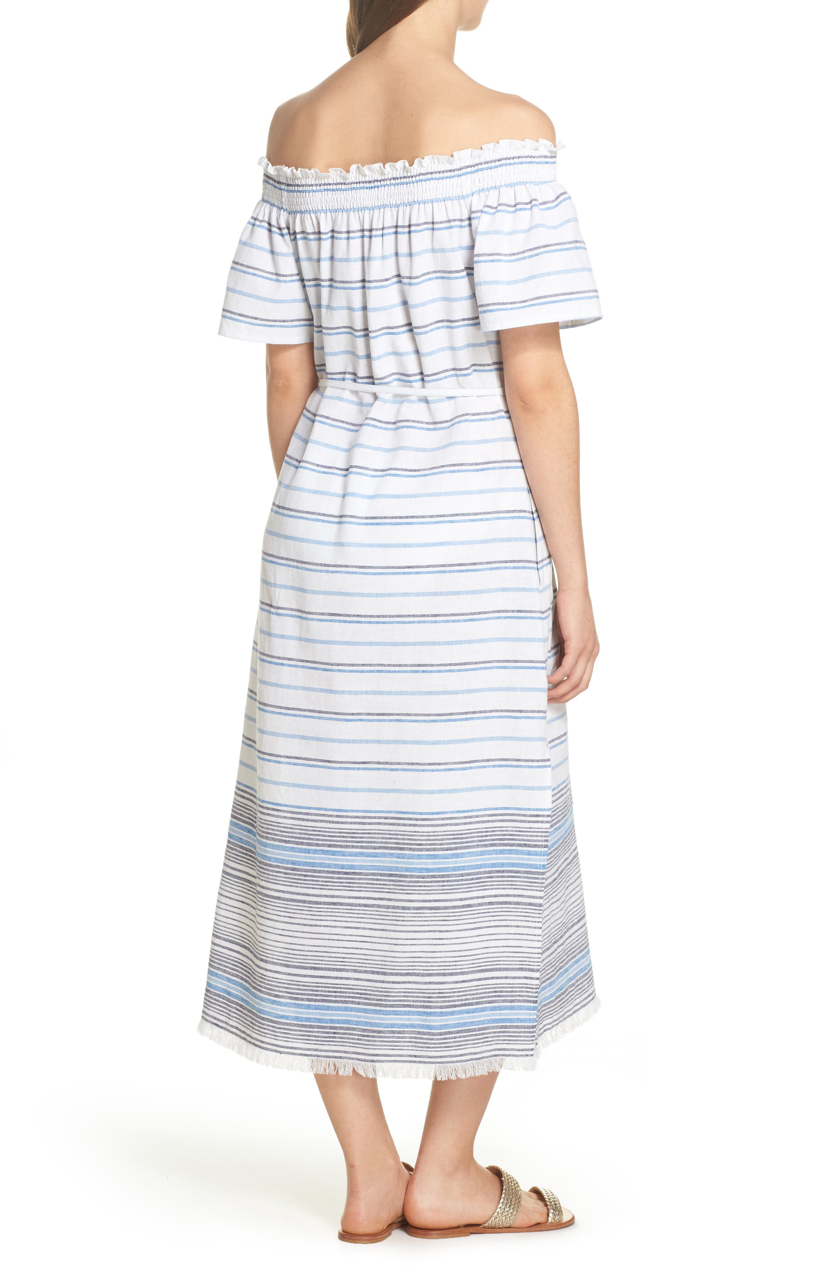 Stripe Linen & Cotton Off the Shoulder Cover-Up Dress,                             Alternate thumbnail 2, color,                             White