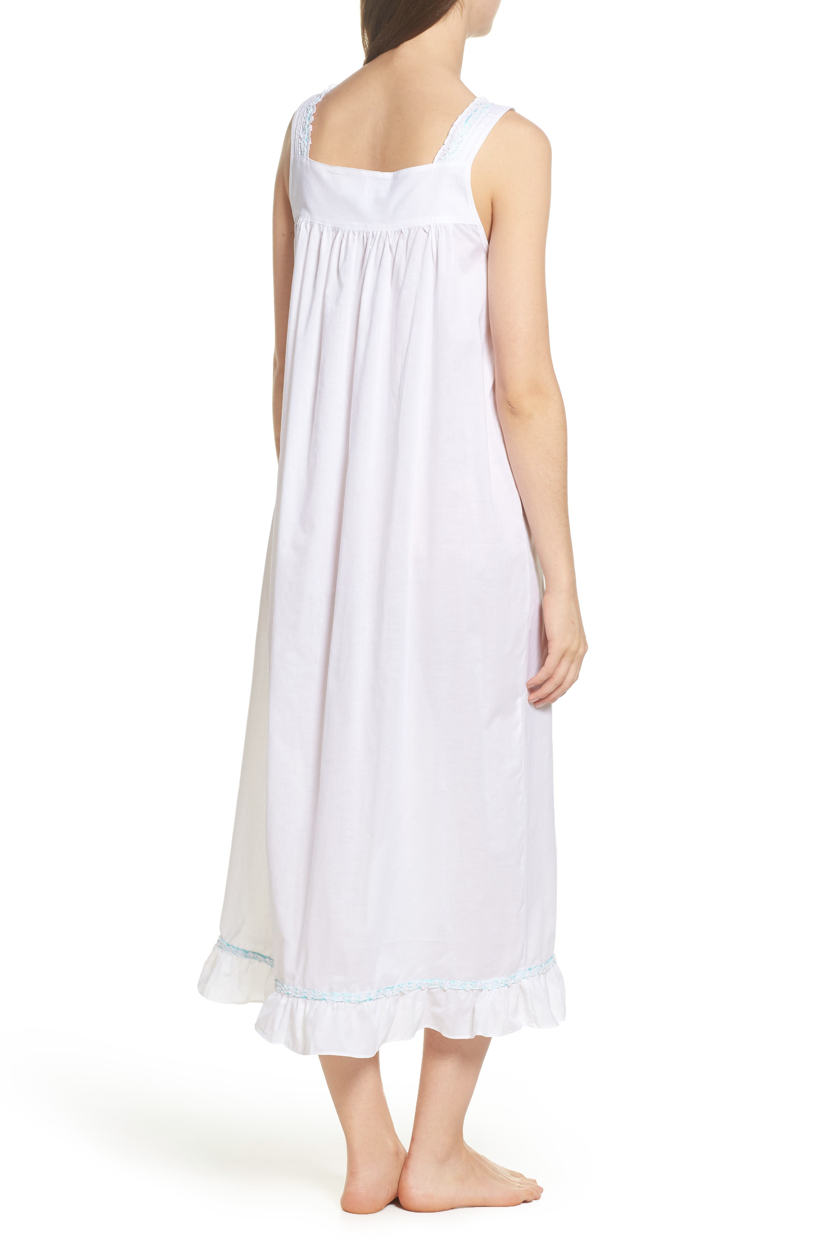 Cotton Lawn Ballet Nightgown,                             Alternate thumbnail 2, color,                             Solid White