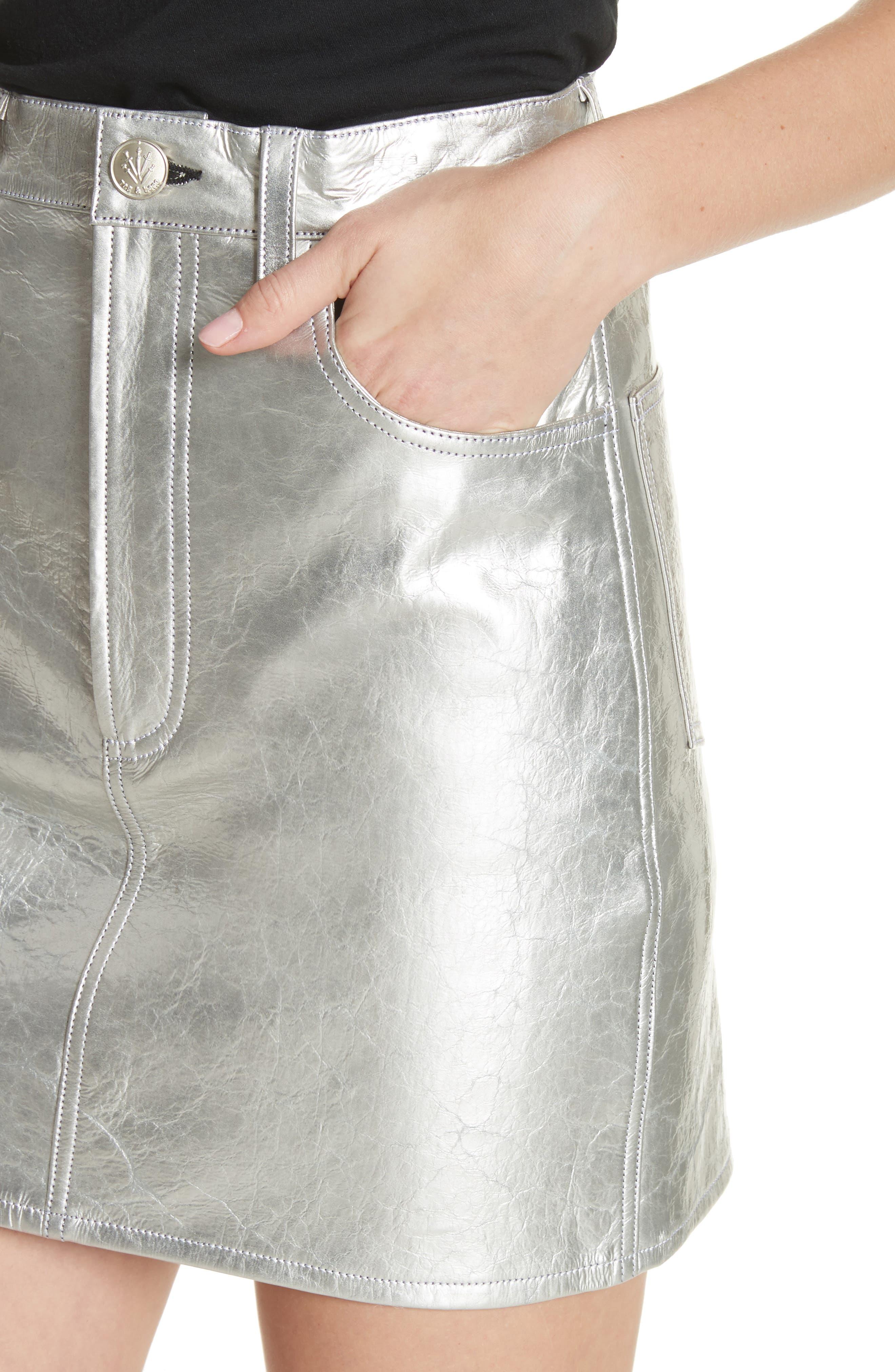 Moss High Waist Leather Miniskirt,                             Alternate thumbnail 4, color,                             Metallic
