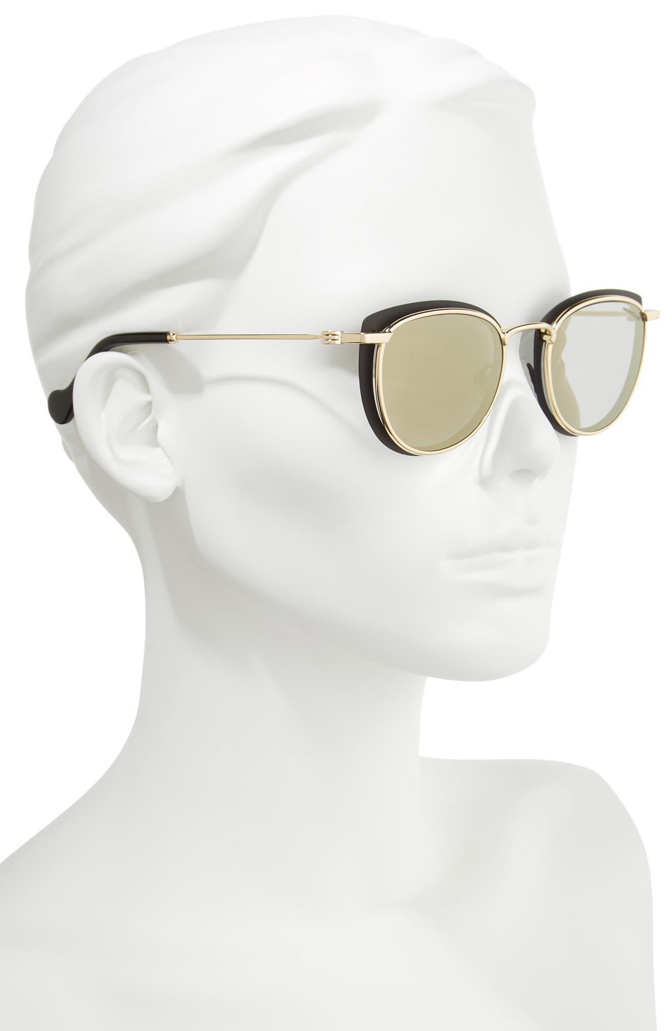50mm Mirrored Geometric Sunglasses,                             Alternate thumbnail 2, color,                             Black/ Pale Gold/ Smoke/ Gold