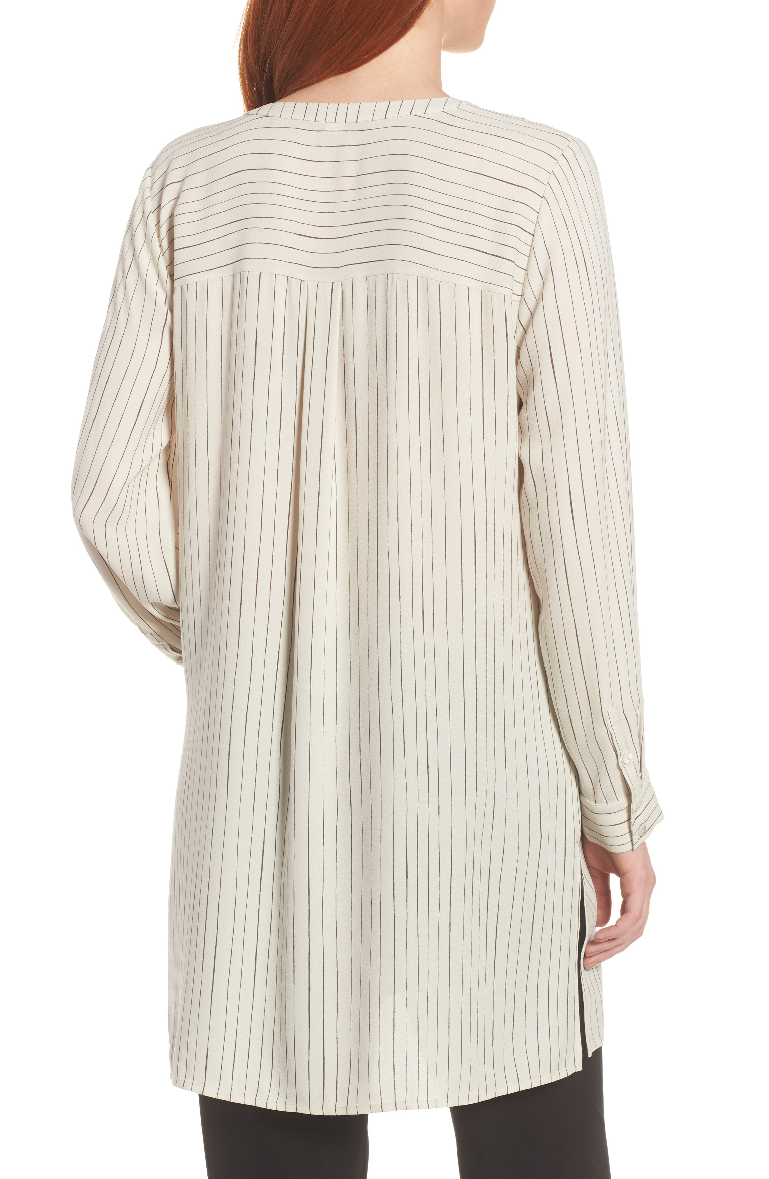 Stripe Silk Georgette Crepe Long Shirt,                             Alternate thumbnail 2, color,                             Bone