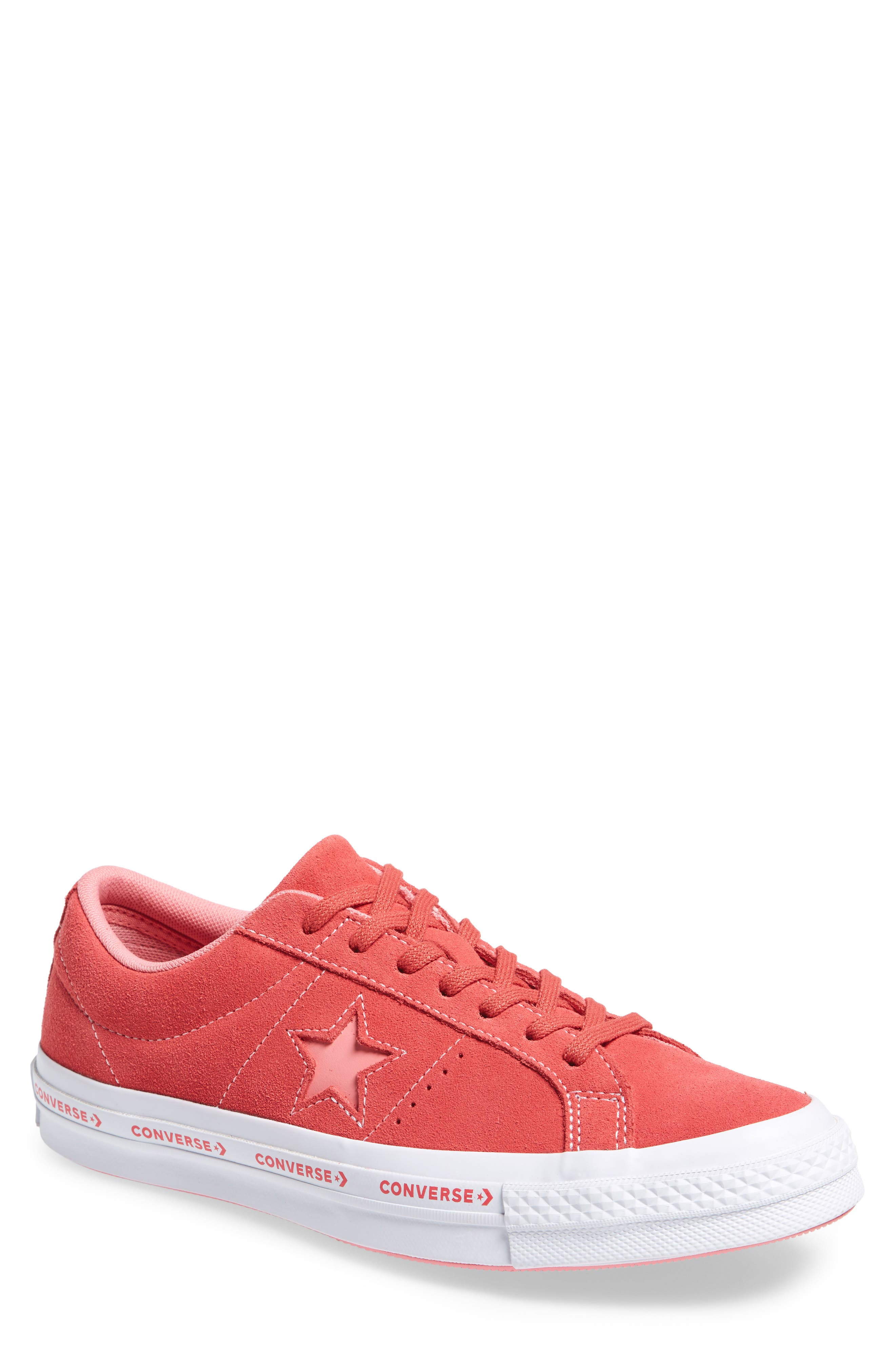 Chuck Taylor<sup>®</sup> One Star Pinstripe Sneaker,                             Main thumbnail 1, color,                             Paradise Pink Suede