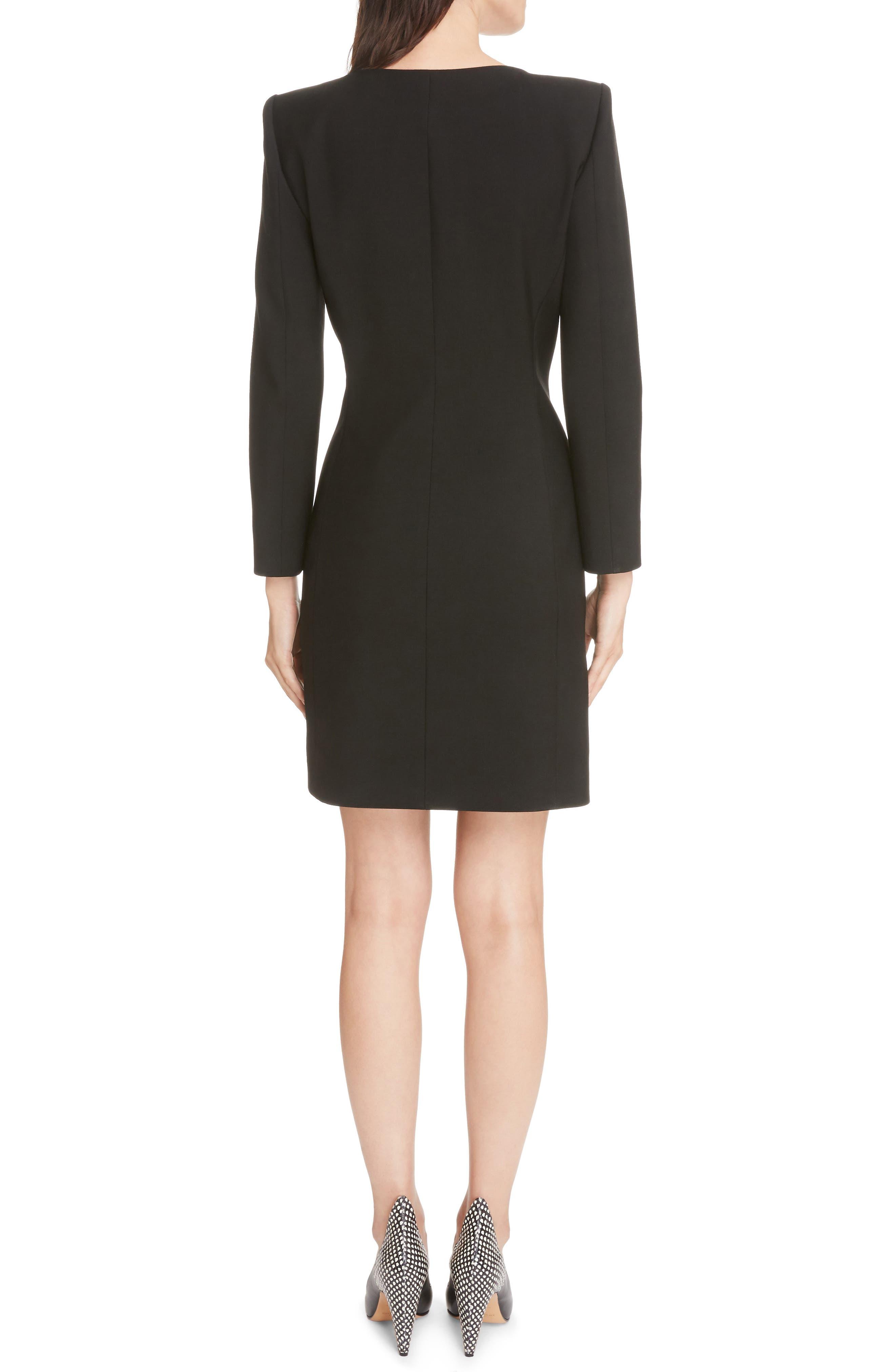 Wool & Mohair Brooch Detail Dress,                             Alternate thumbnail 2, color,                             Black
