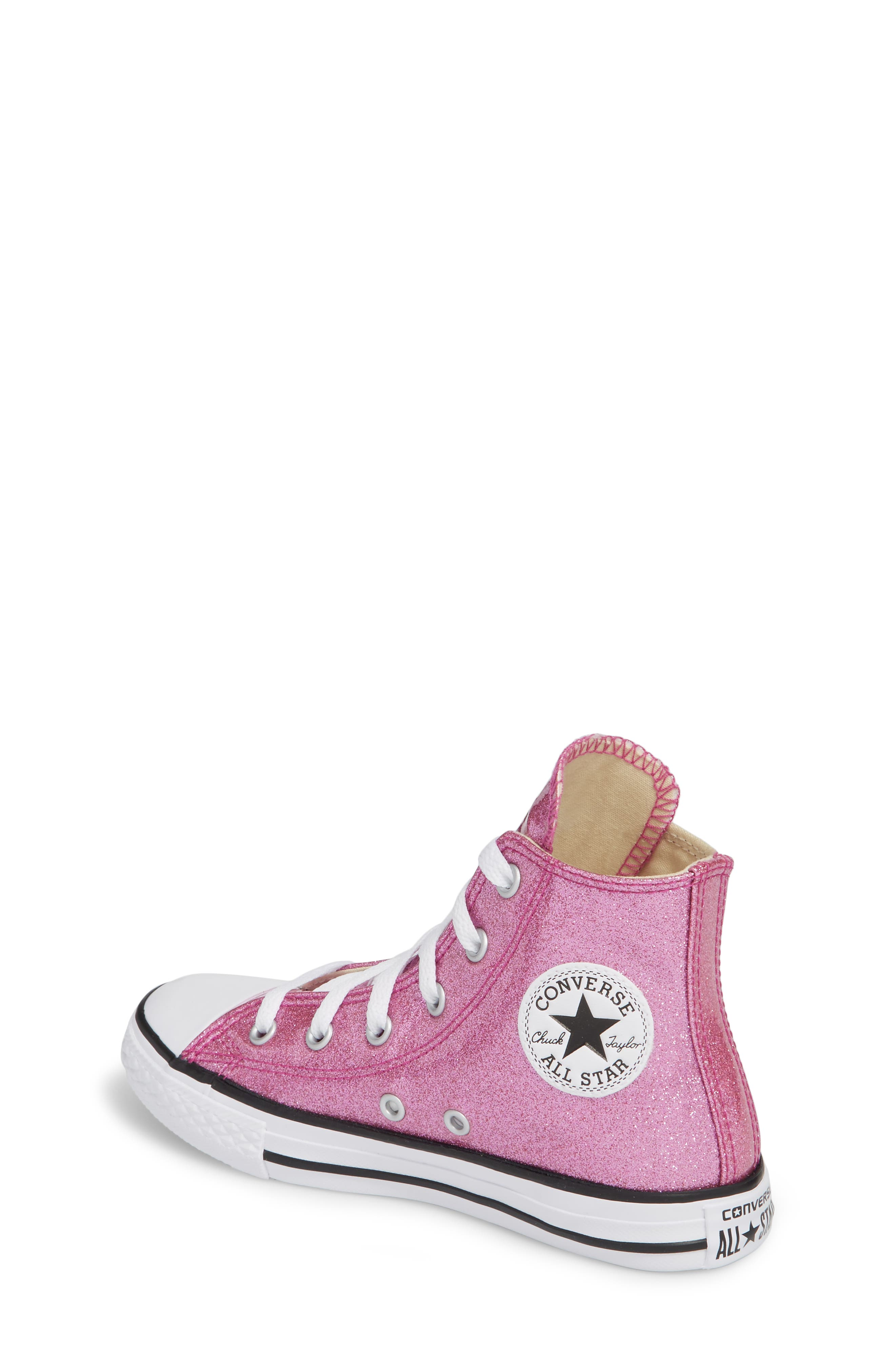 All Star<sup>®</sup> Glitter High Top Sneaker,                             Alternate thumbnail 2, color,                             Bright Violet