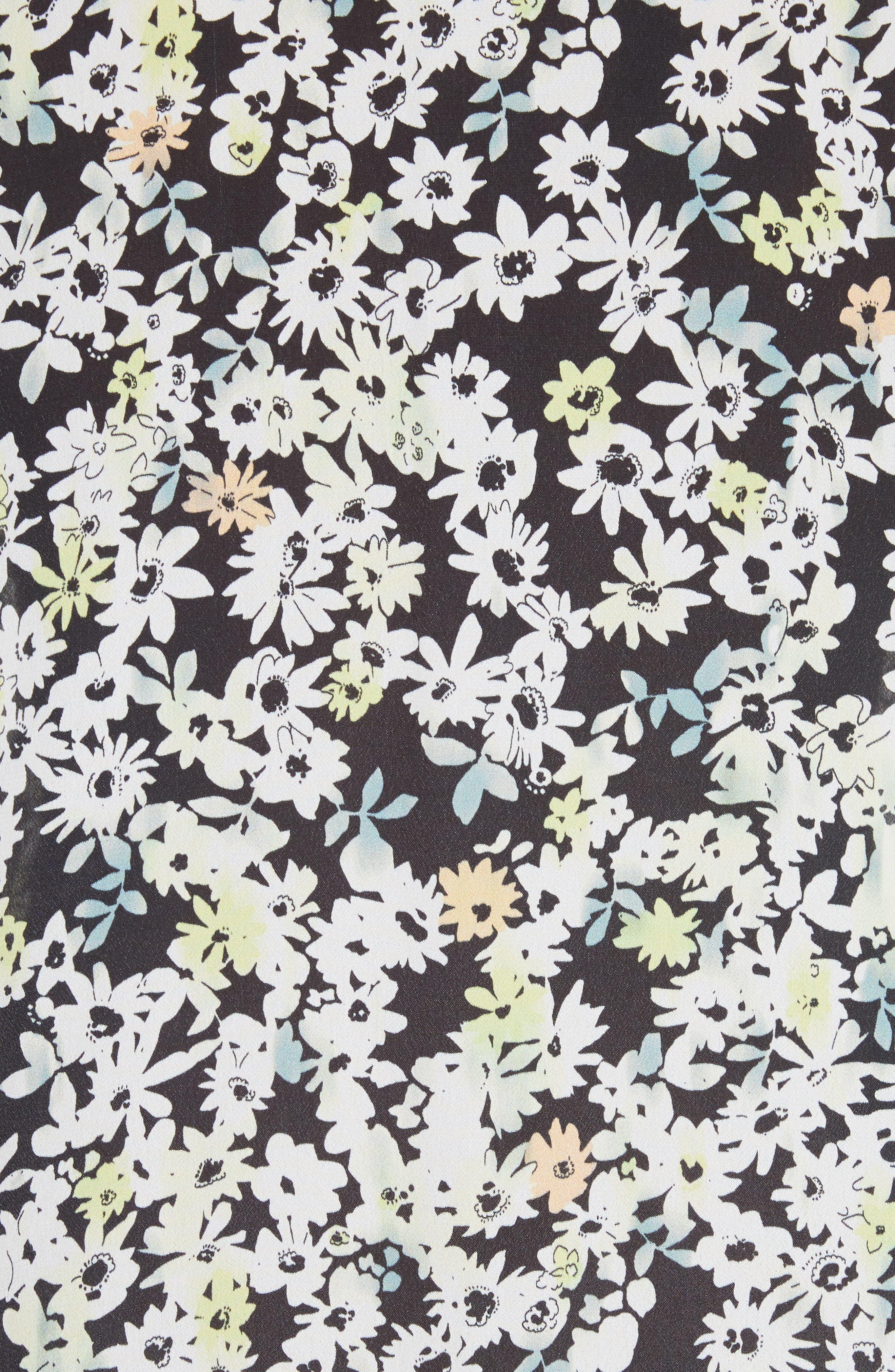 Floral Print Flutter Edge Dress,                             Alternate thumbnail 5, color,                             Multicolor Grey