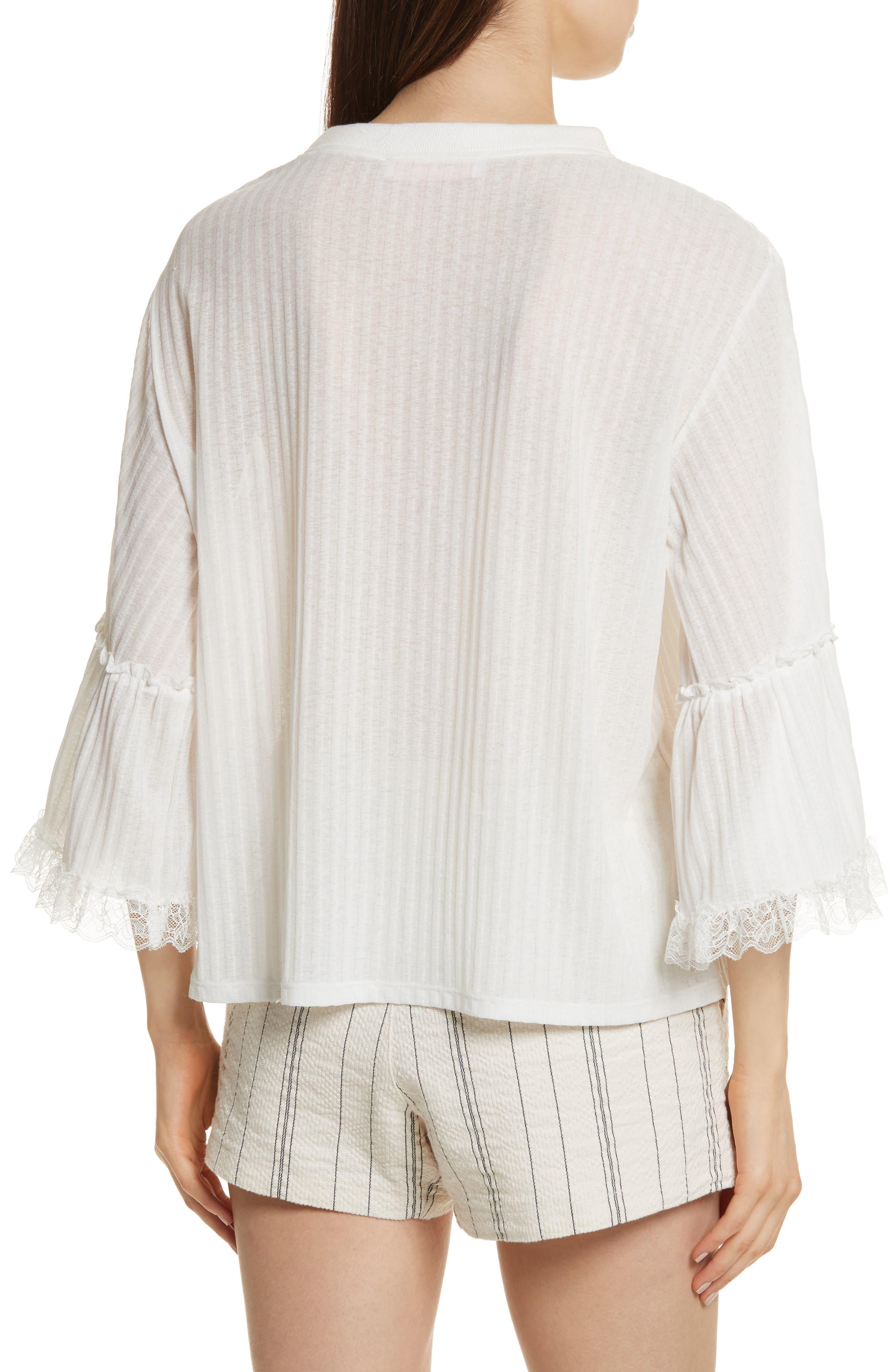 Lace Trim Top,                             Alternate thumbnail 2, color,                             White
