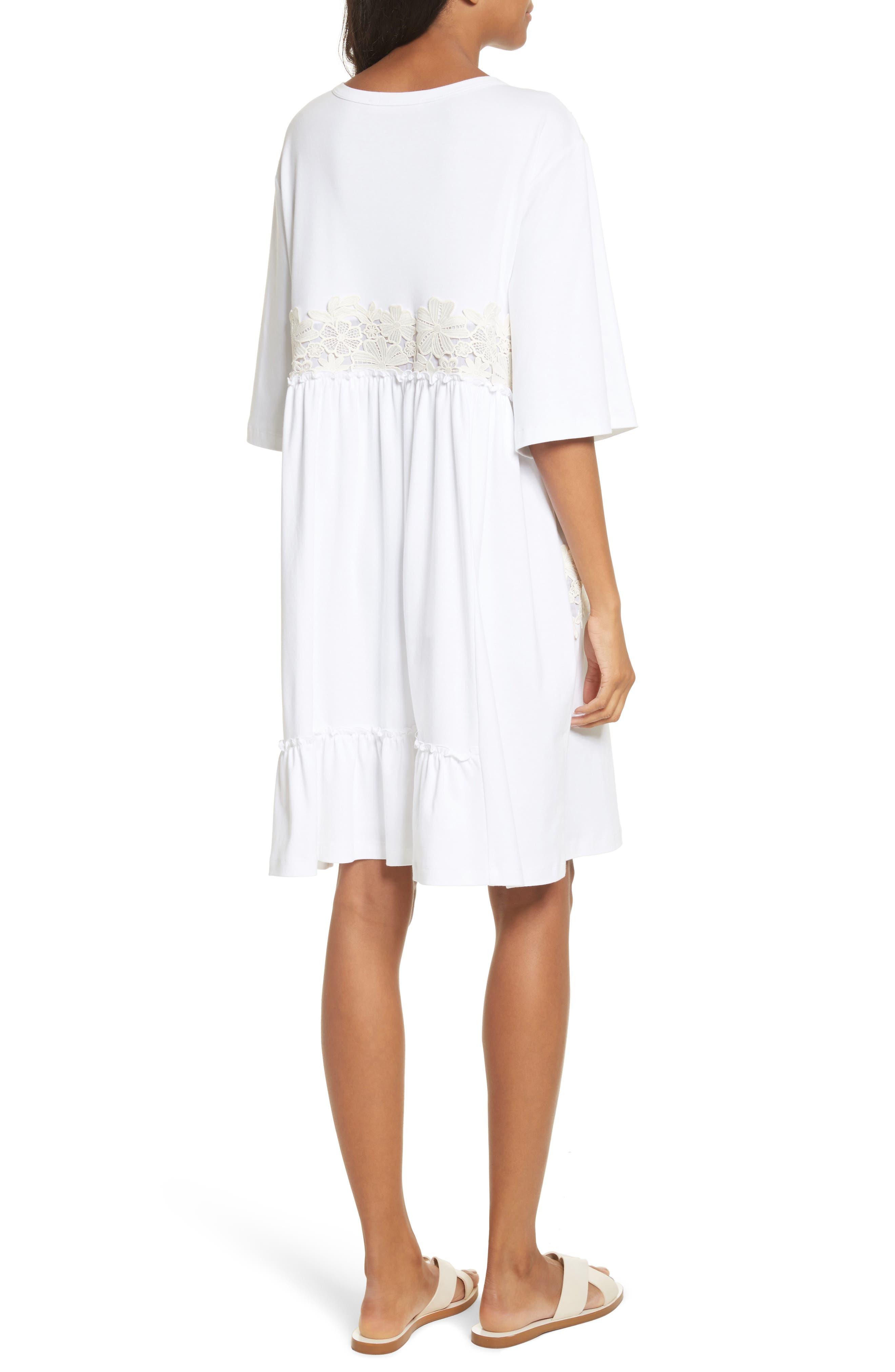 Crochet Panel Dress,                             Alternate thumbnail 2, color,                             White