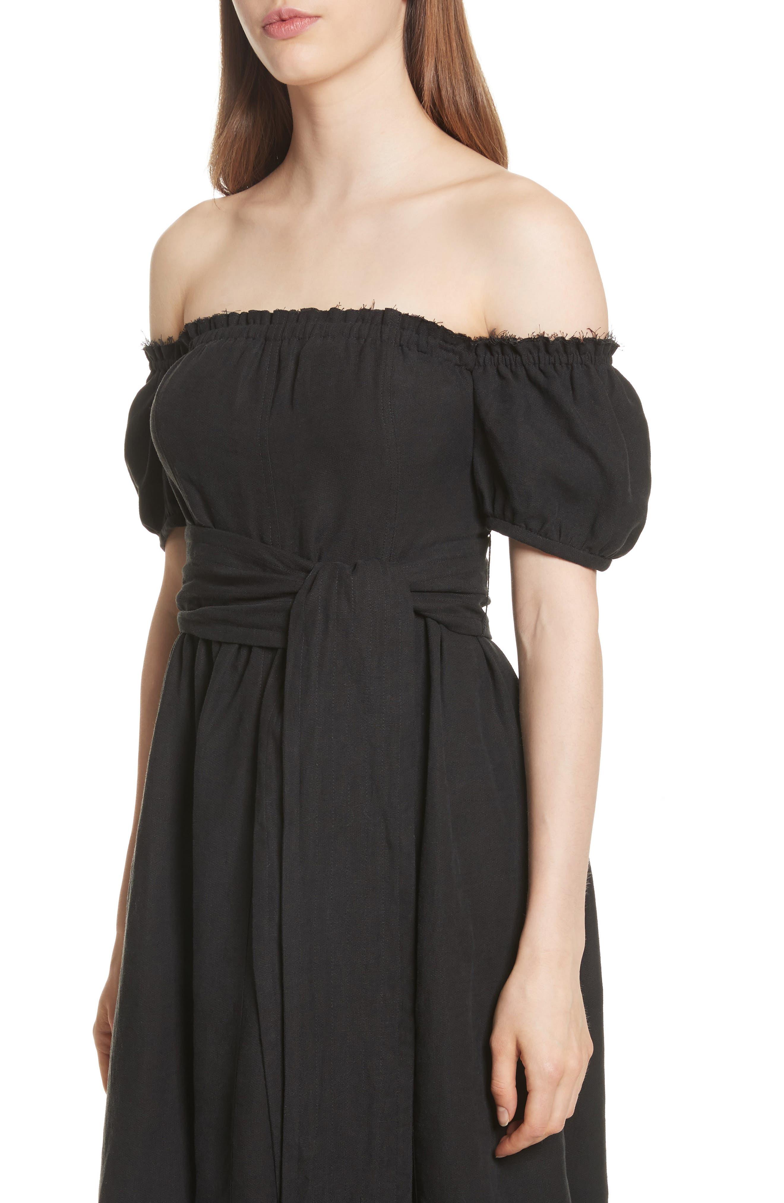 Lalla Off the Shoulder Linen Blend Dress,                             Alternate thumbnail 4, color,                             Black