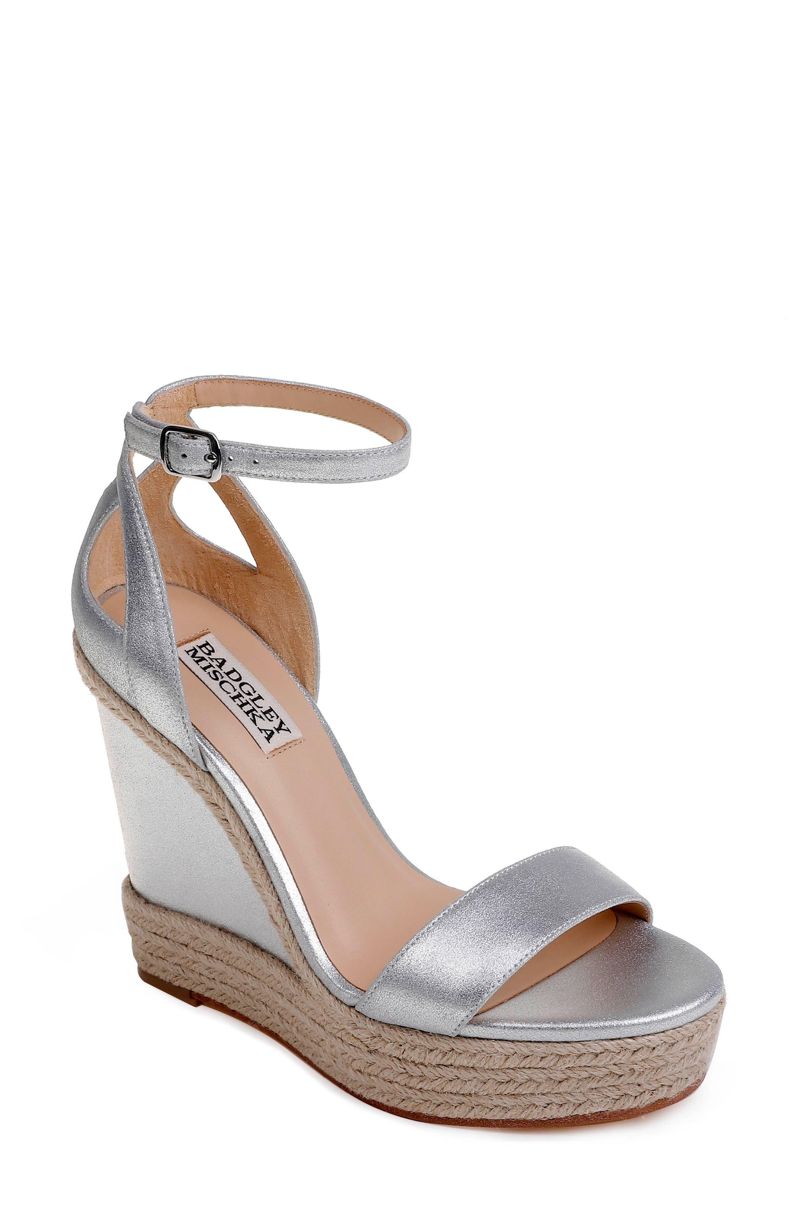 Honest Espadrille Wedge Sandal,                             Main thumbnail 1, color,                             Silver Metallic Suede
