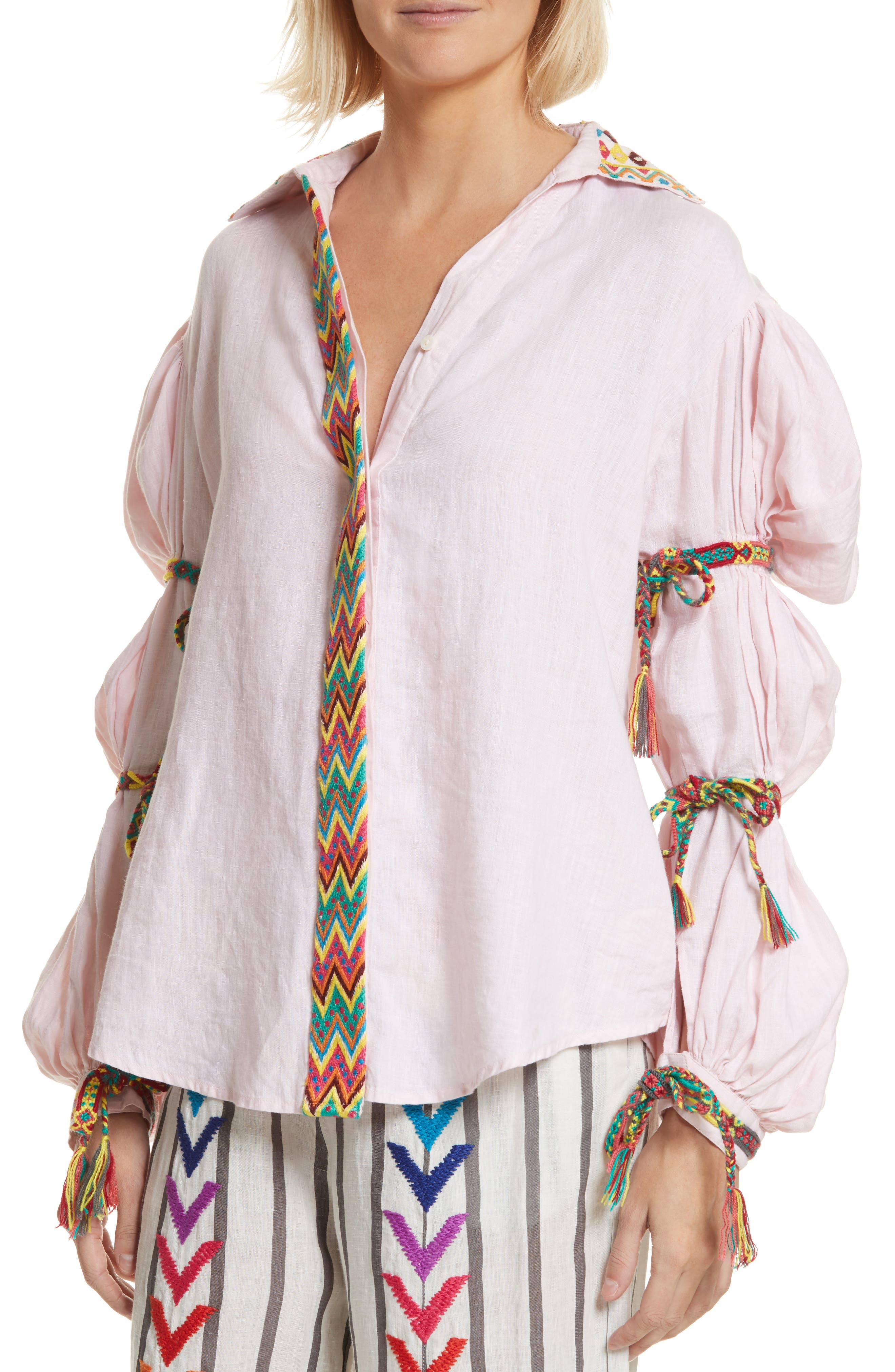 Lillian Bubble Sleeve Linen Shirt,                             Alternate thumbnail 4, color,                             Baby Pink