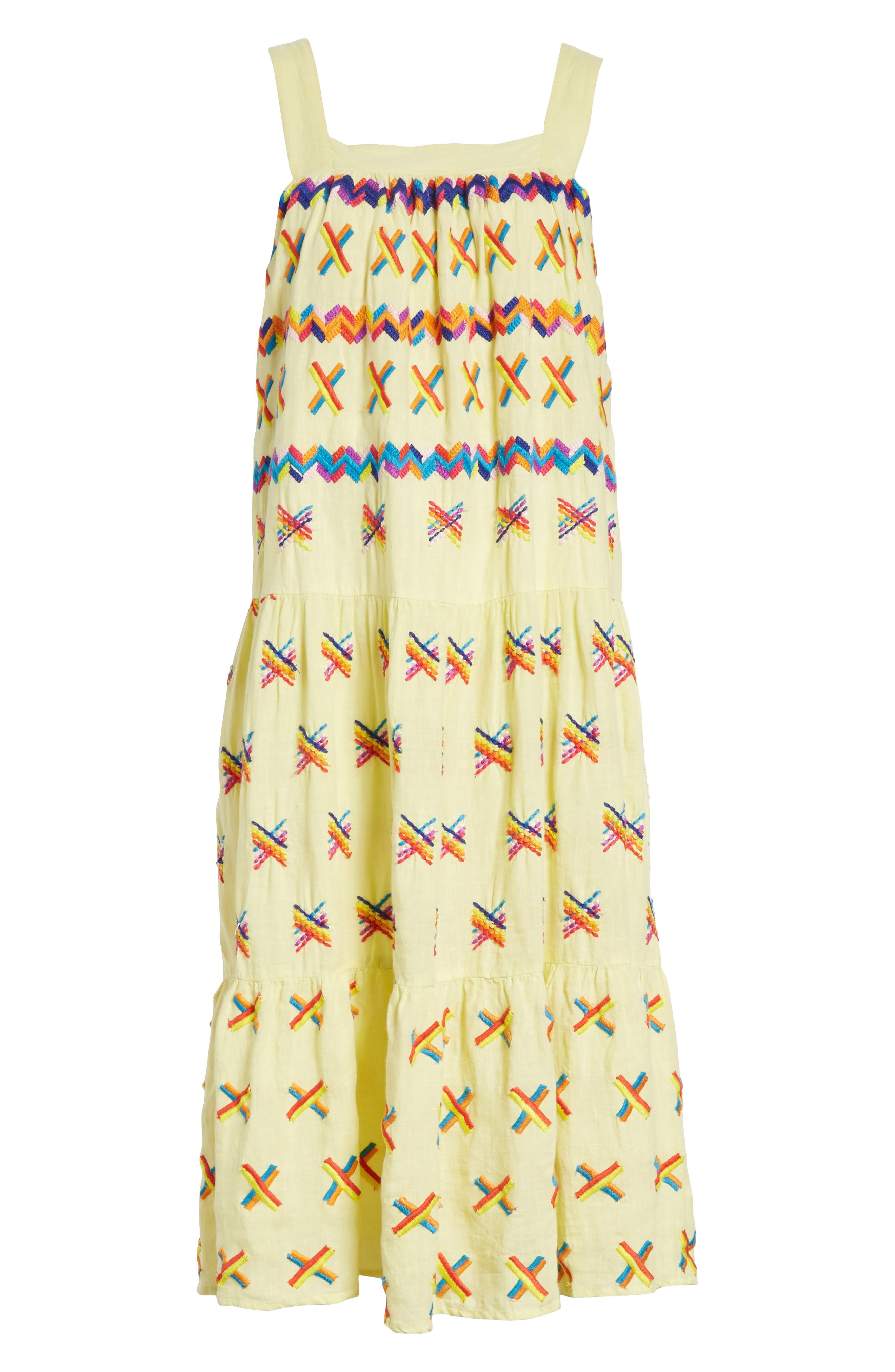 Remi Embroidered Midi Dress,                             Alternate thumbnail 6, color,                             Baby Yellow