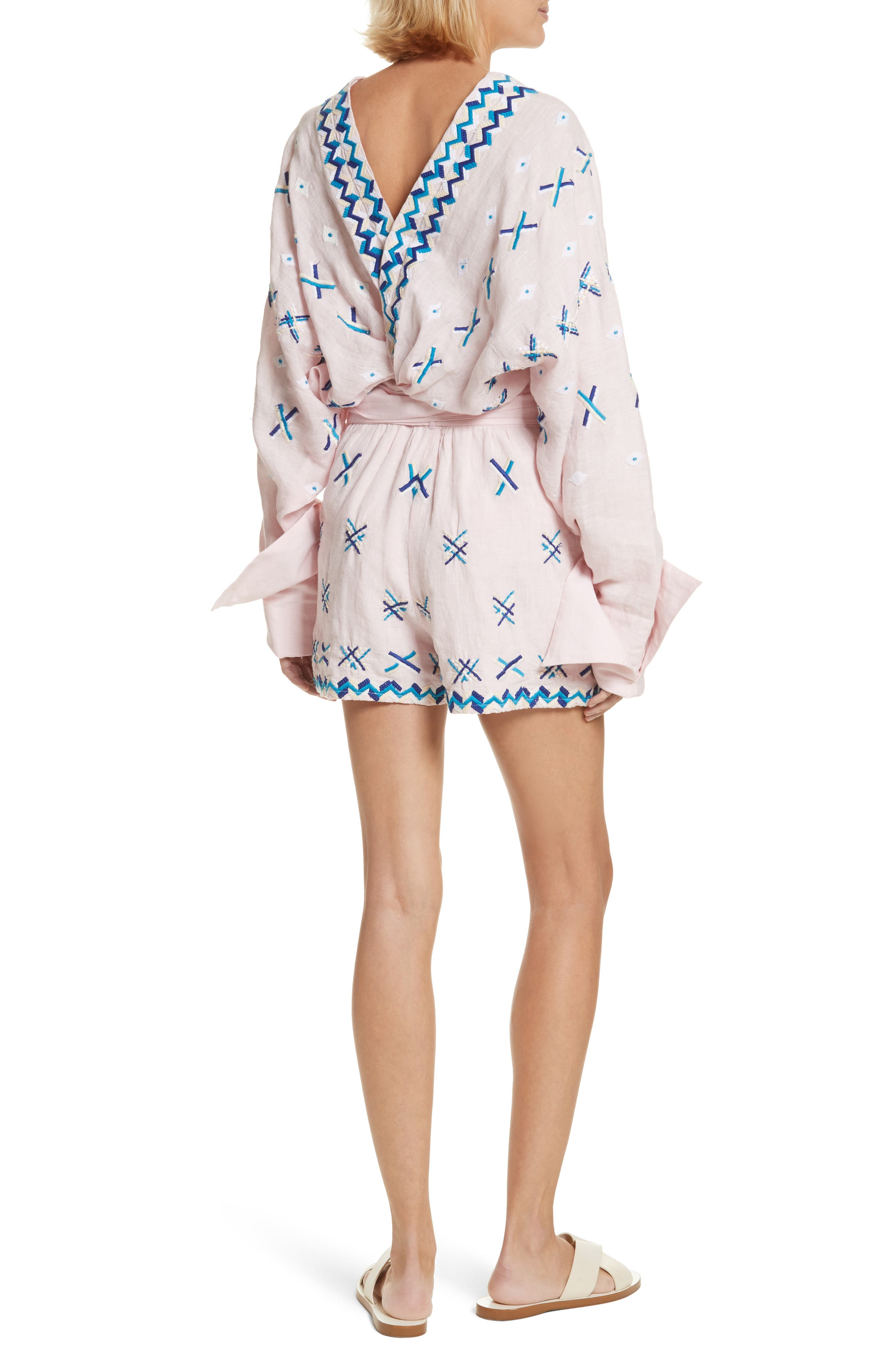 Magda Embroidered Romper,                             Alternate thumbnail 2, color,                             Baby Pink