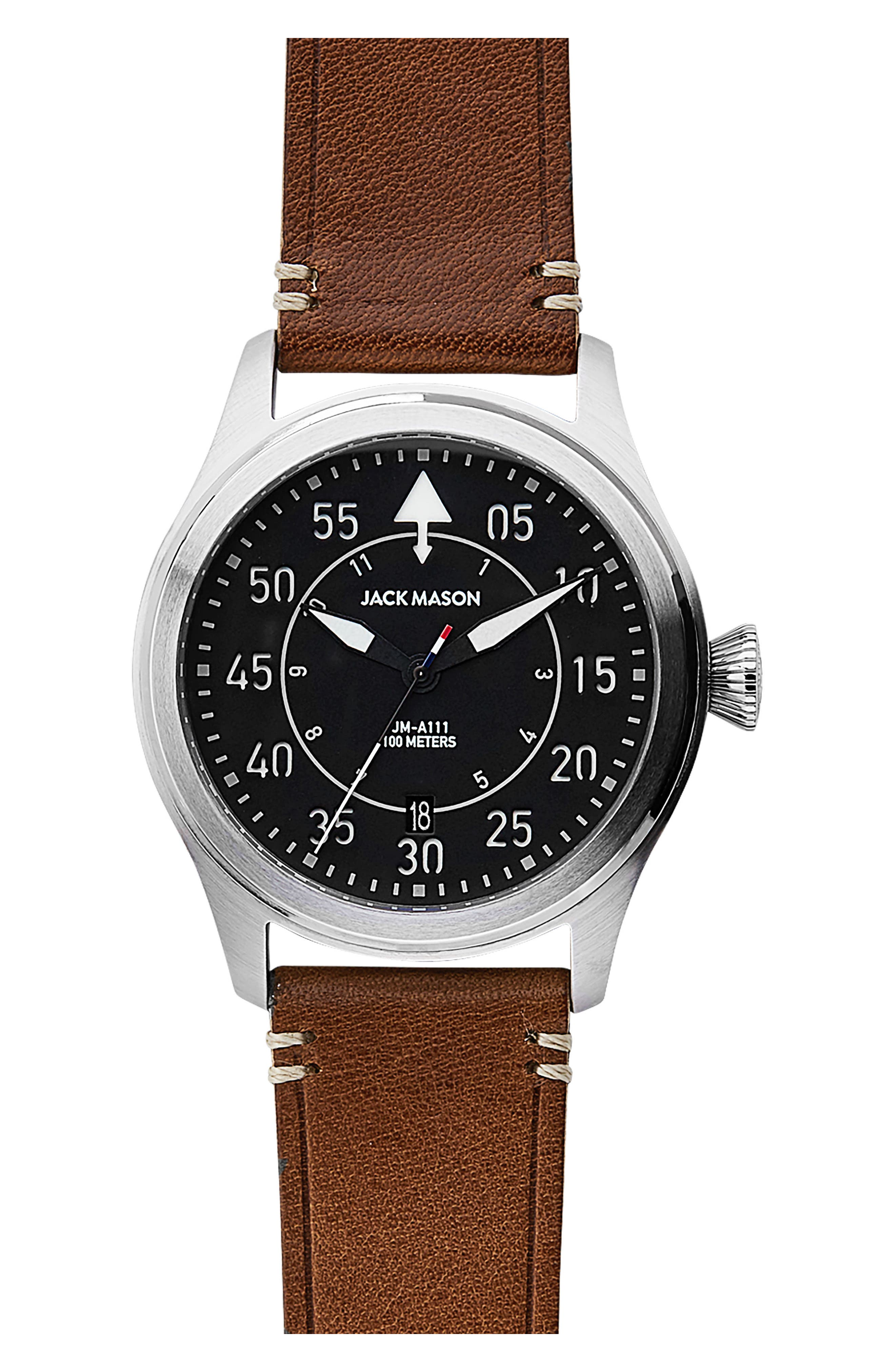Aviation II Leather Strap Watch, 42mm,                             Main thumbnail 1, color,                             Navy/ Brown