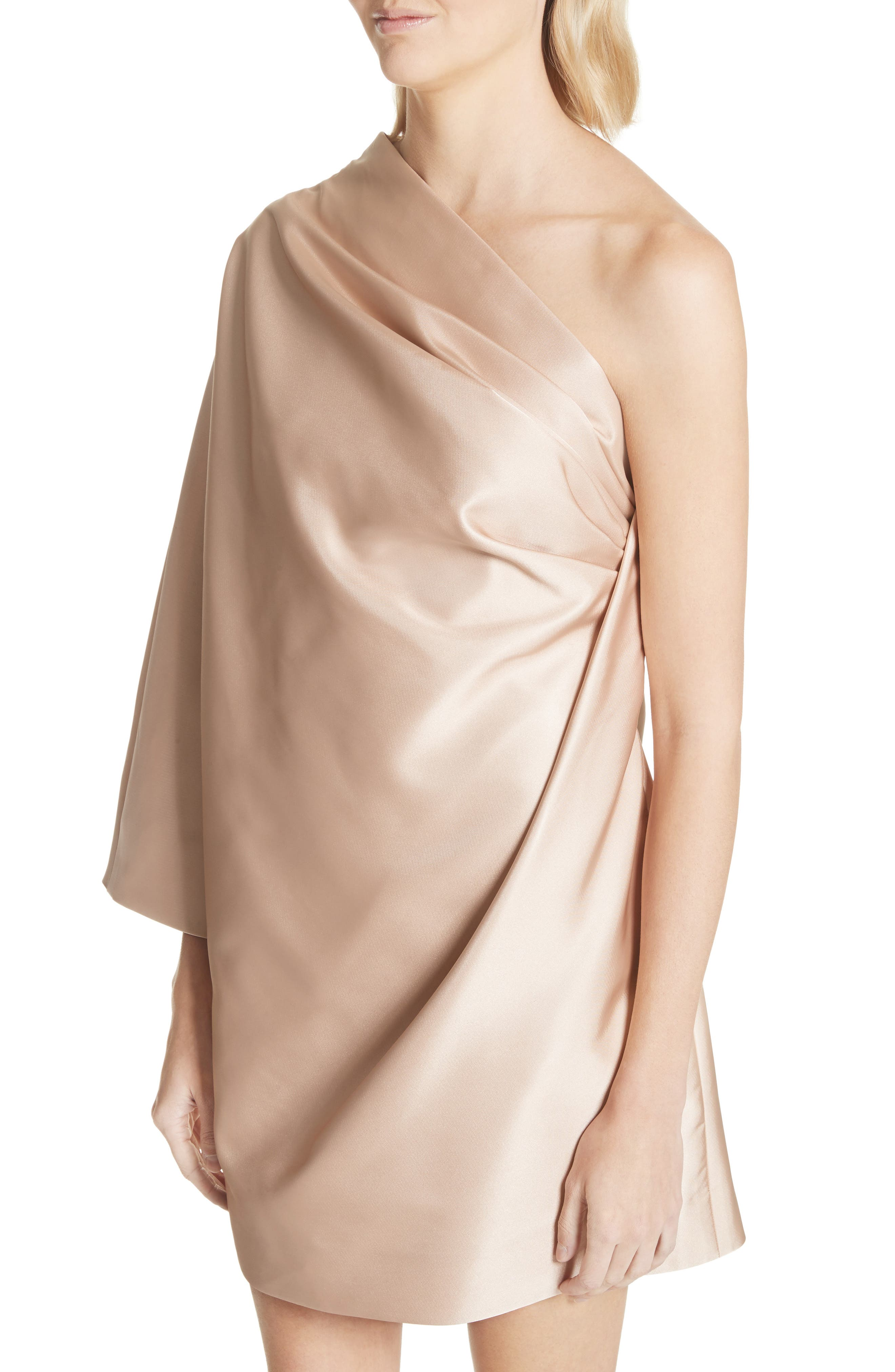 One-Shoulder Gathered Dress,                             Alternate thumbnail 4, color,                             Champagne