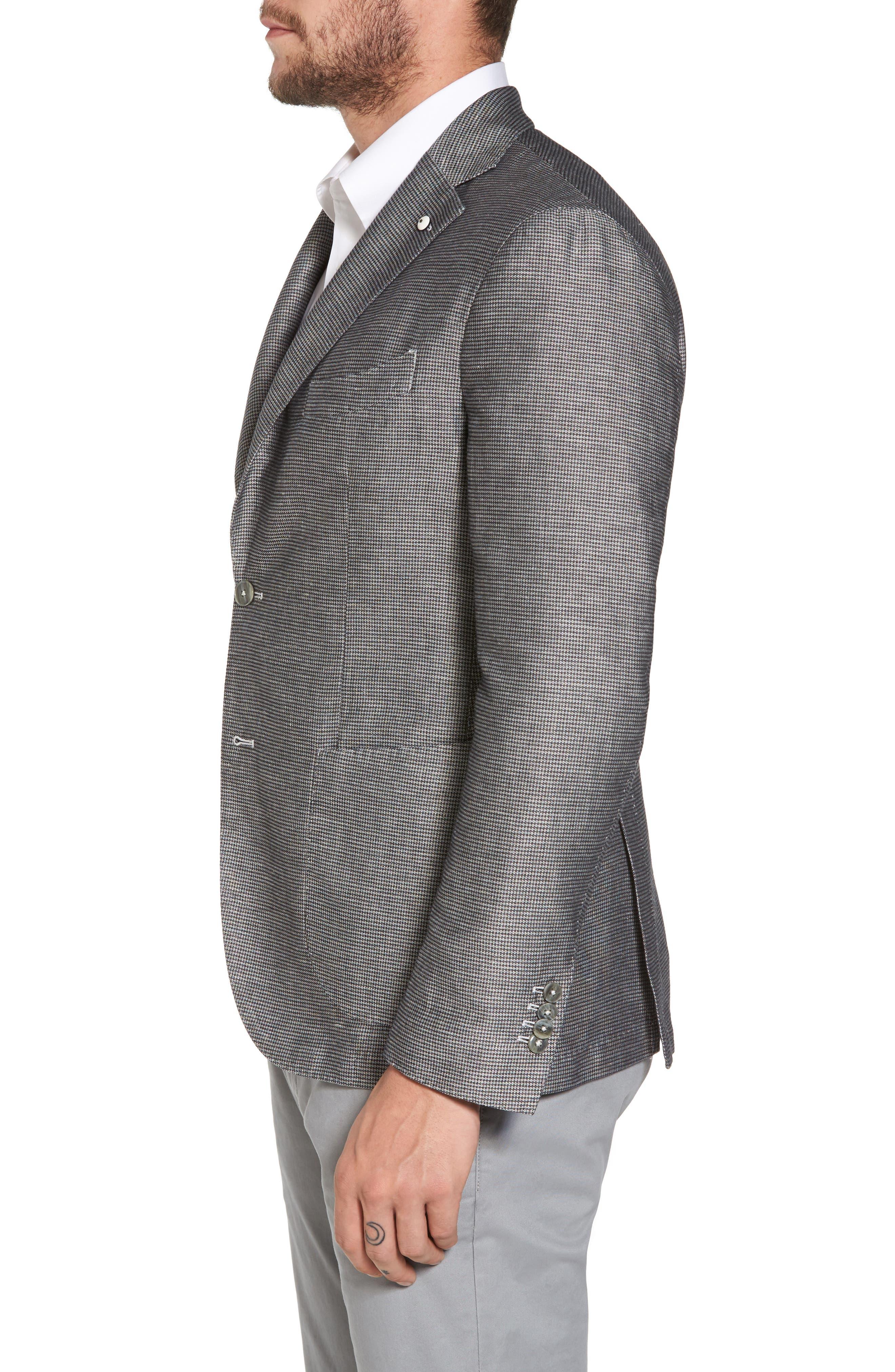 Classic Fit Houndstooth Linen & Cotton Sport Coat,                             Alternate thumbnail 3, color,                             Light/ Pastel Grey