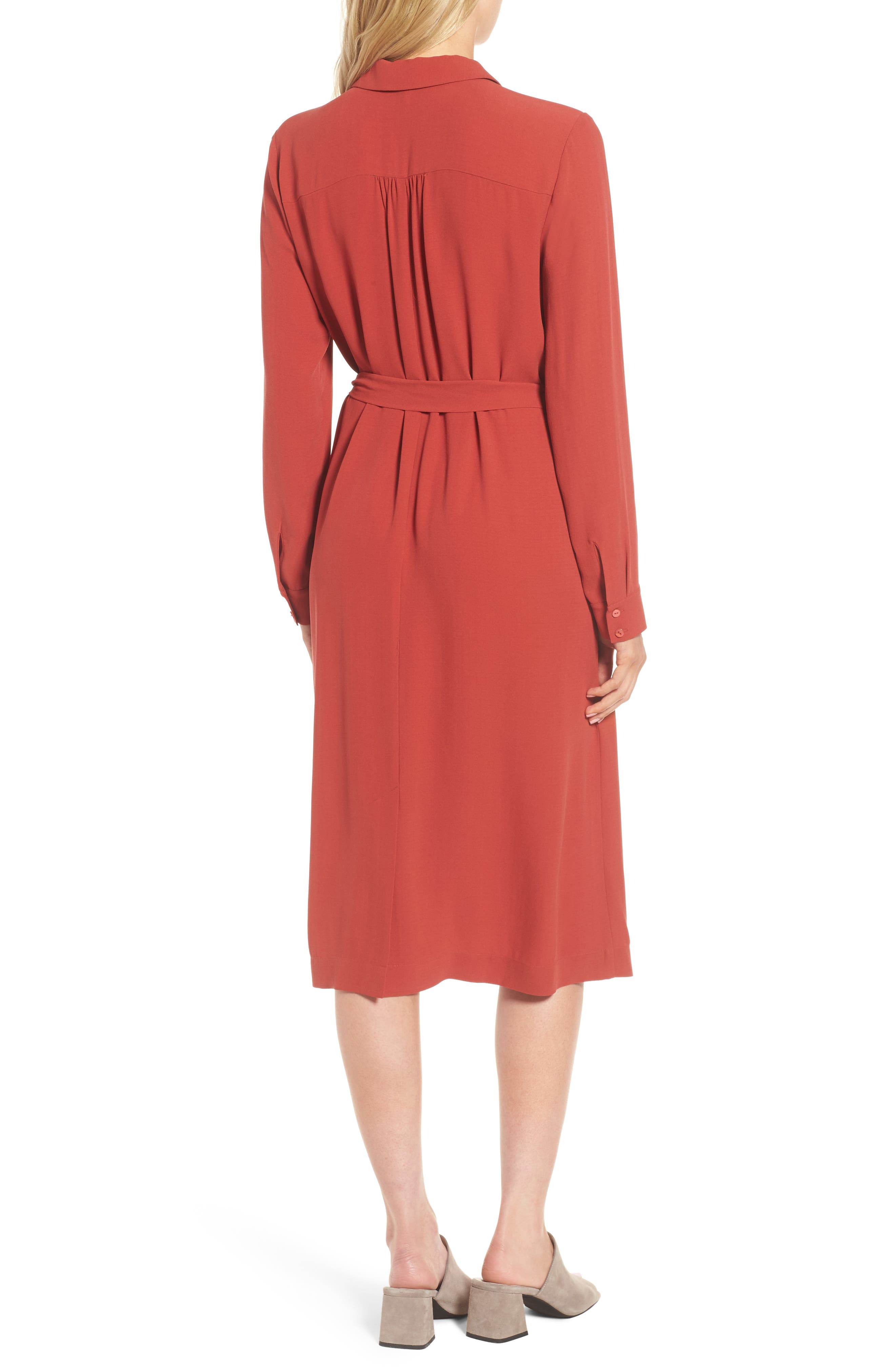 Silk Georgette Crepe Shirtdress,                             Alternate thumbnail 2, color,                             Serrano