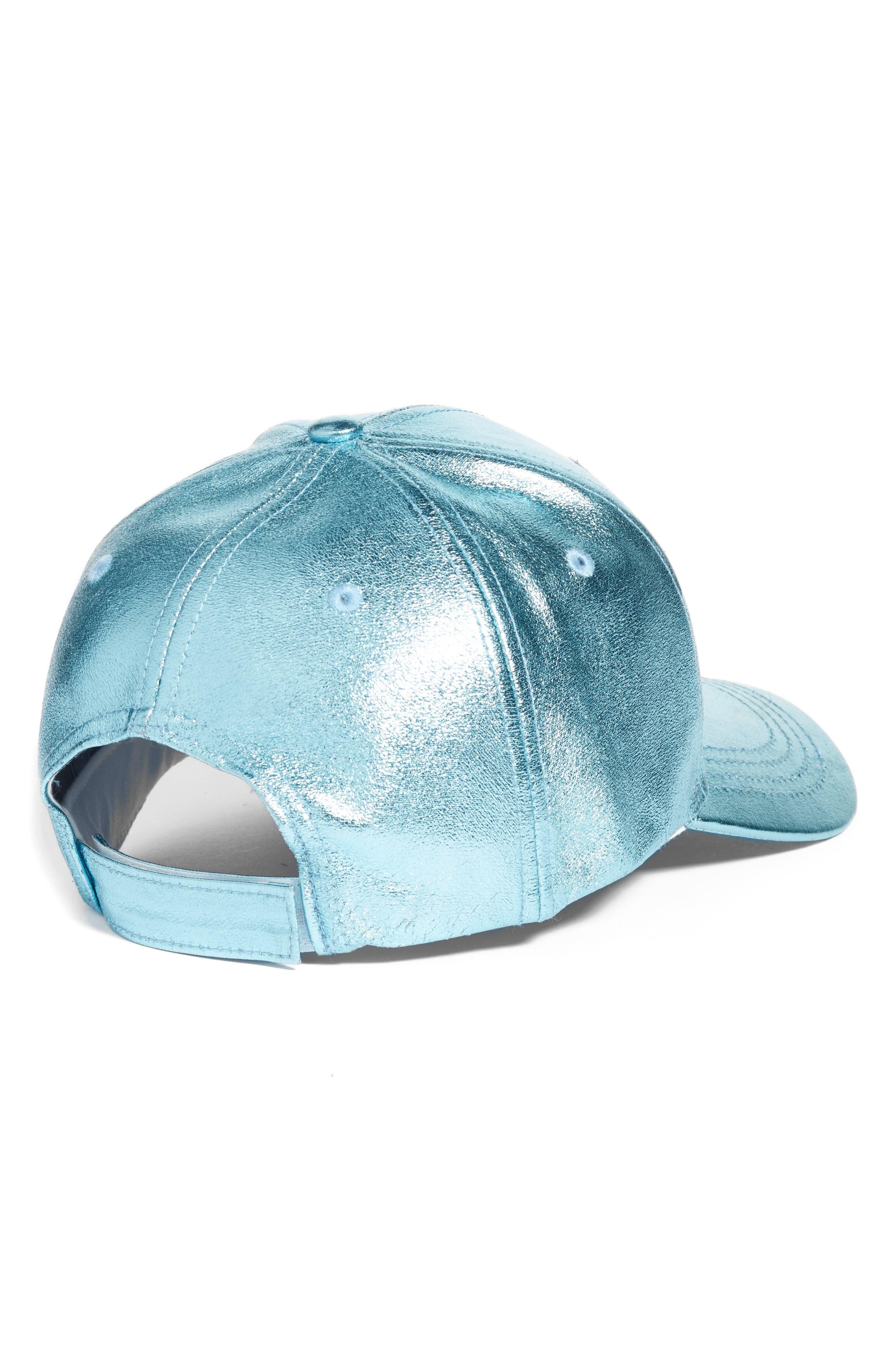 Crackled Metallic Baseball Cap,                             Alternate thumbnail 2, color,                             Blue
