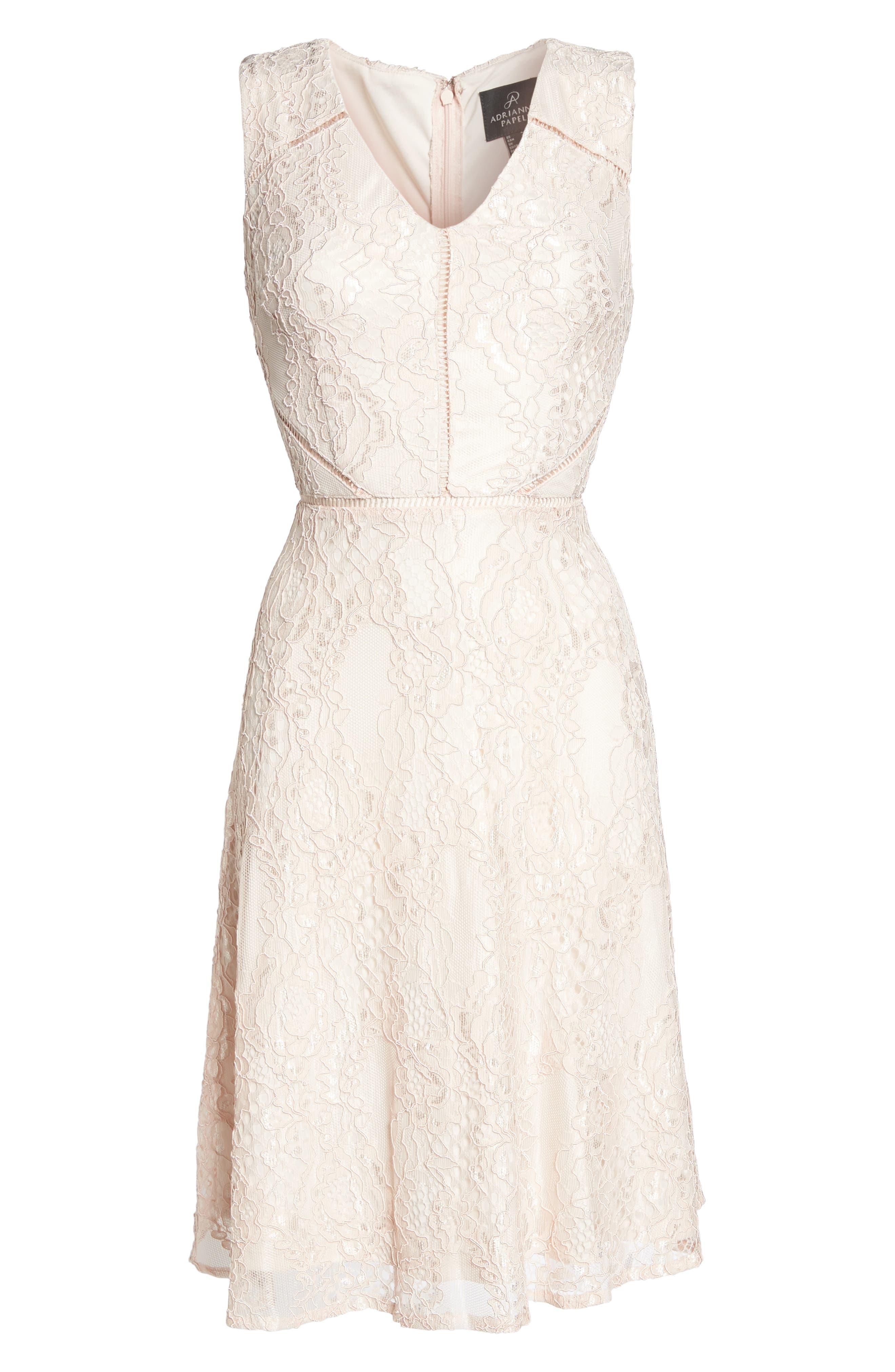 Rose Lace Fit & Flare Dress,                             Alternate thumbnail 6, color,                             Blush/ Almond