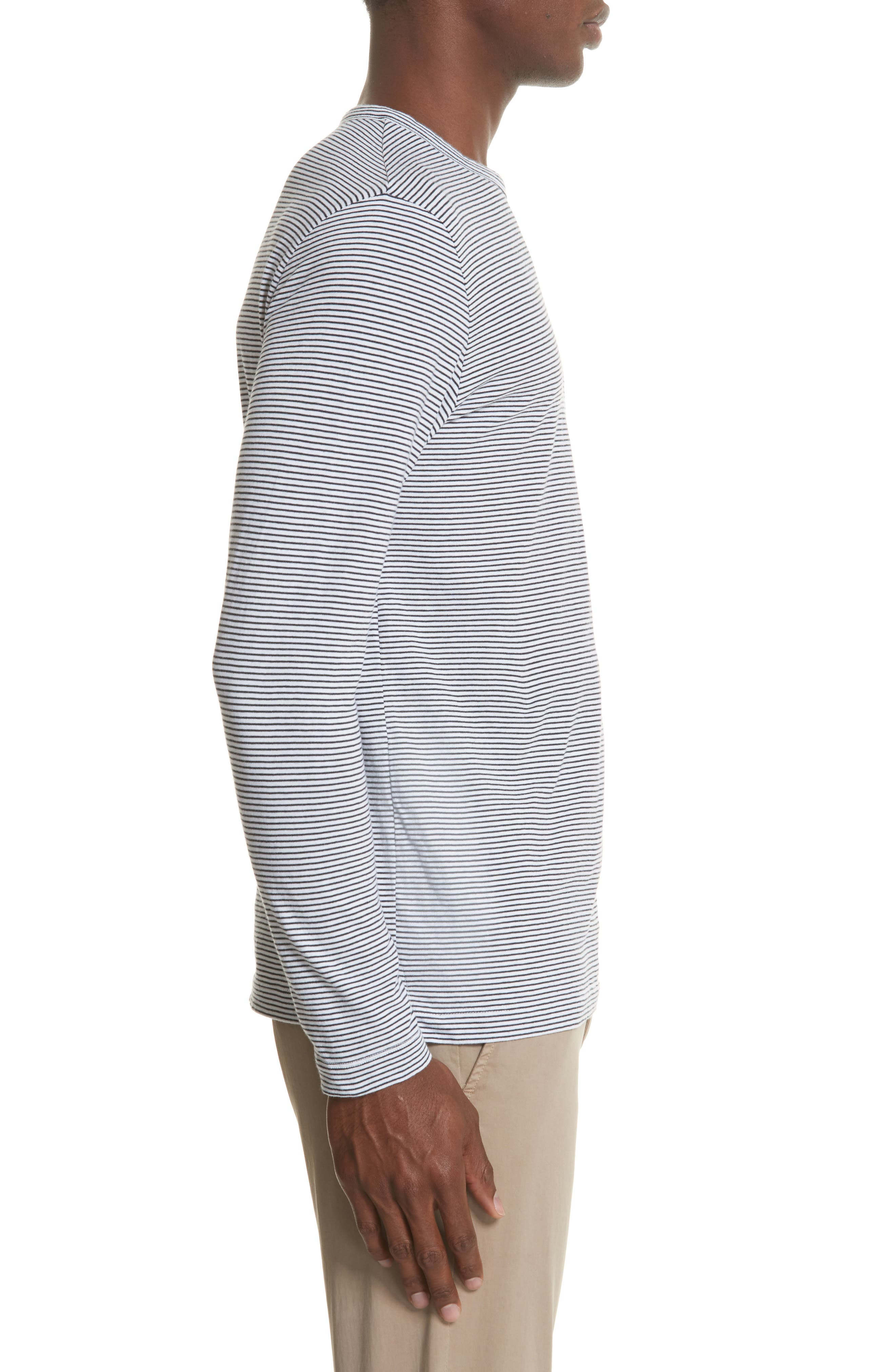 Todd Snyder Stripe Long Sleeve T-Shirt,                             Alternate thumbnail 3, color,                             Navy