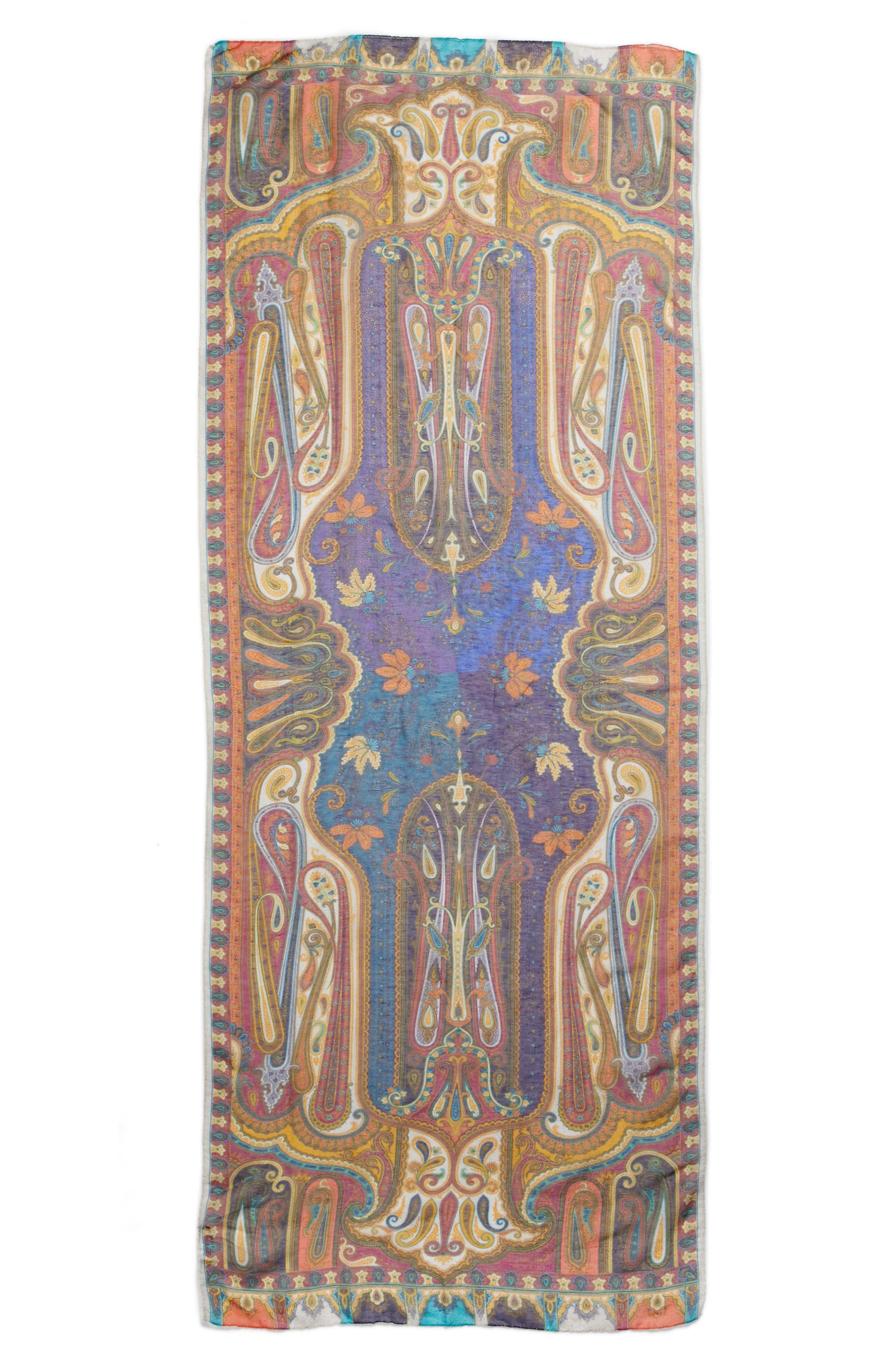 Etro Shimmer Paisley Linen & Silk Scarf