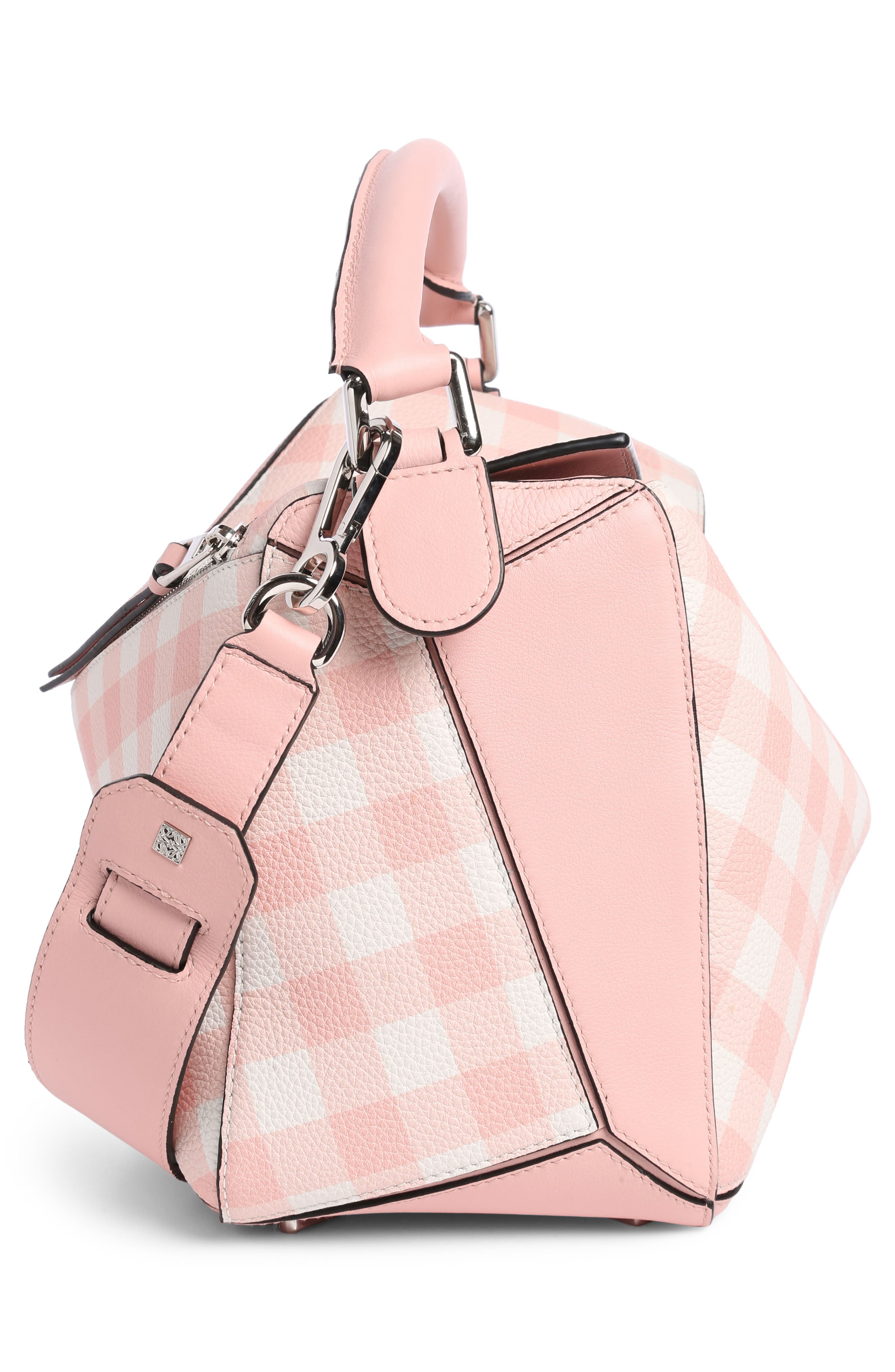 Puzzle Gingham Calfskin Leather Bag,                             Alternate thumbnail 3, color,                             Salmon