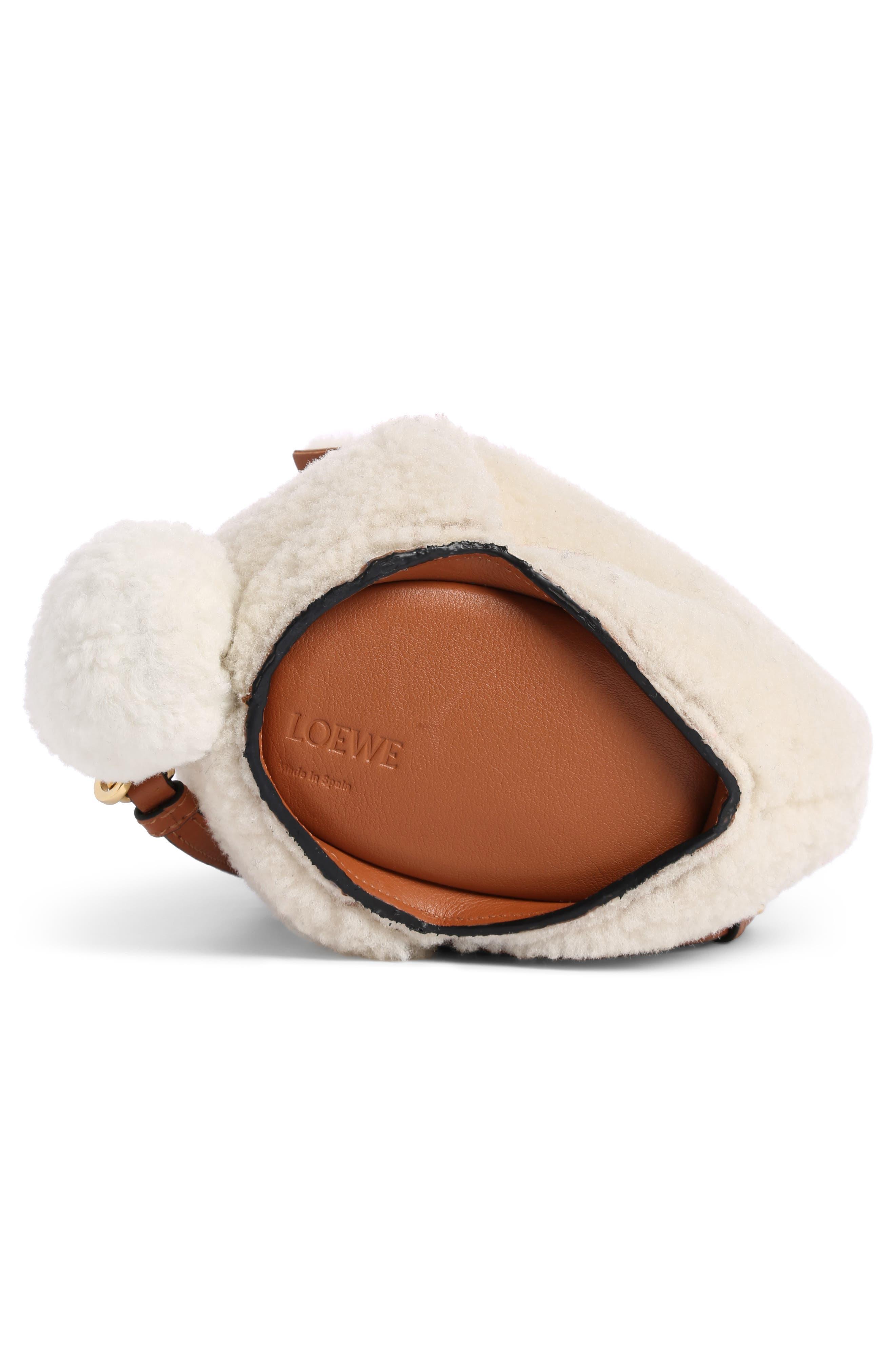 Mini Bunny Fuzzy Genuine Shearling Crossbody Bag,                             Alternate thumbnail 3, color,                             Natural