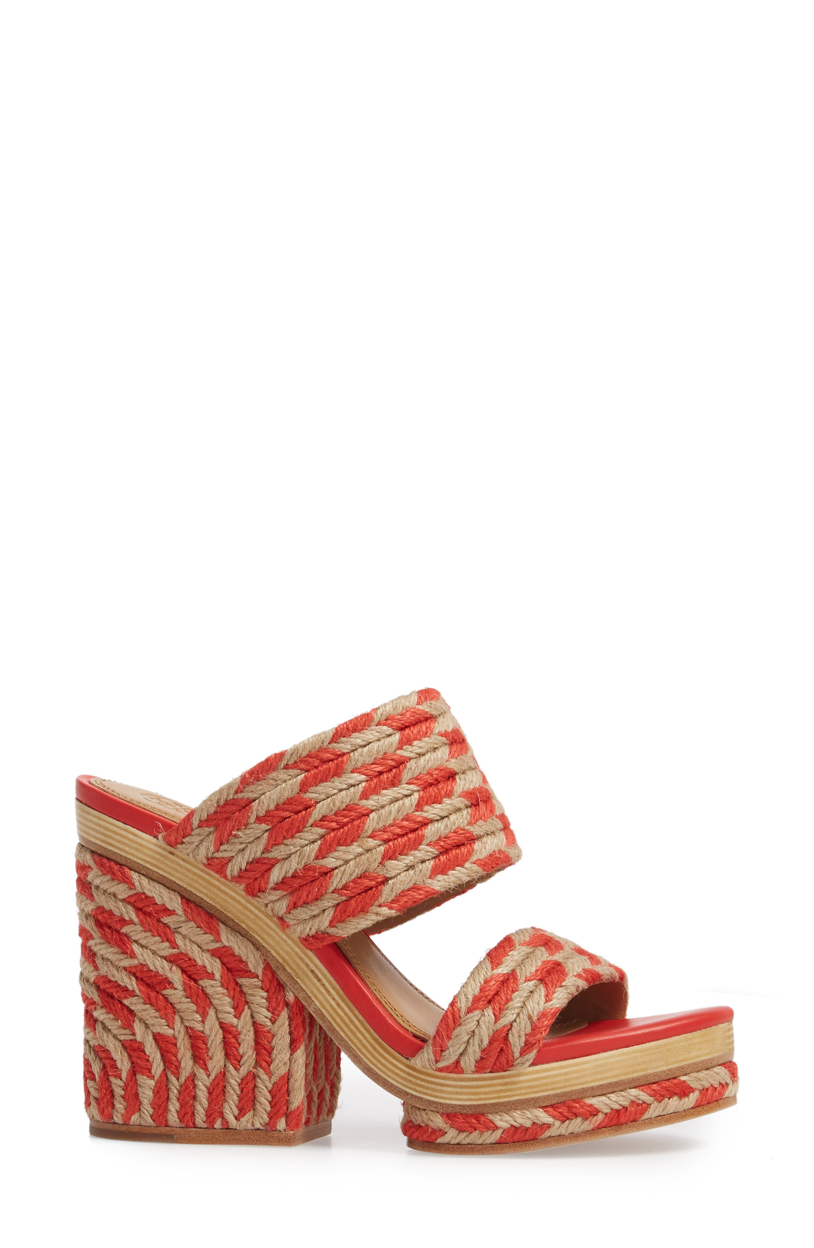 Lola Woven Platform Sandal,                             Alternate thumbnail 3, color,                             Poppy Orange/ Perfect Ivory