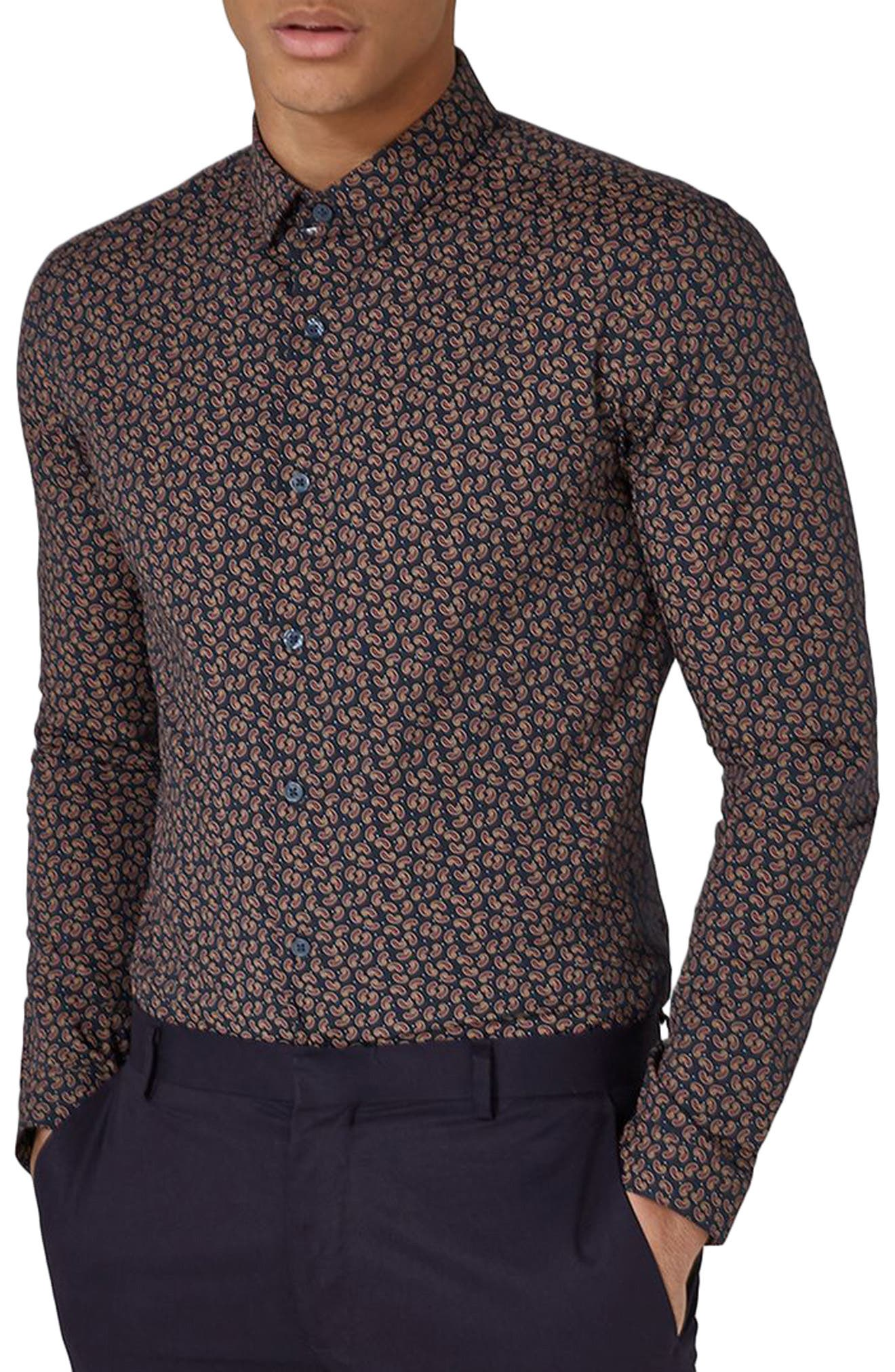 Muscle Fit Paisley Dot Sport Shirt,                         Main,                         color, Navy Blue Multi