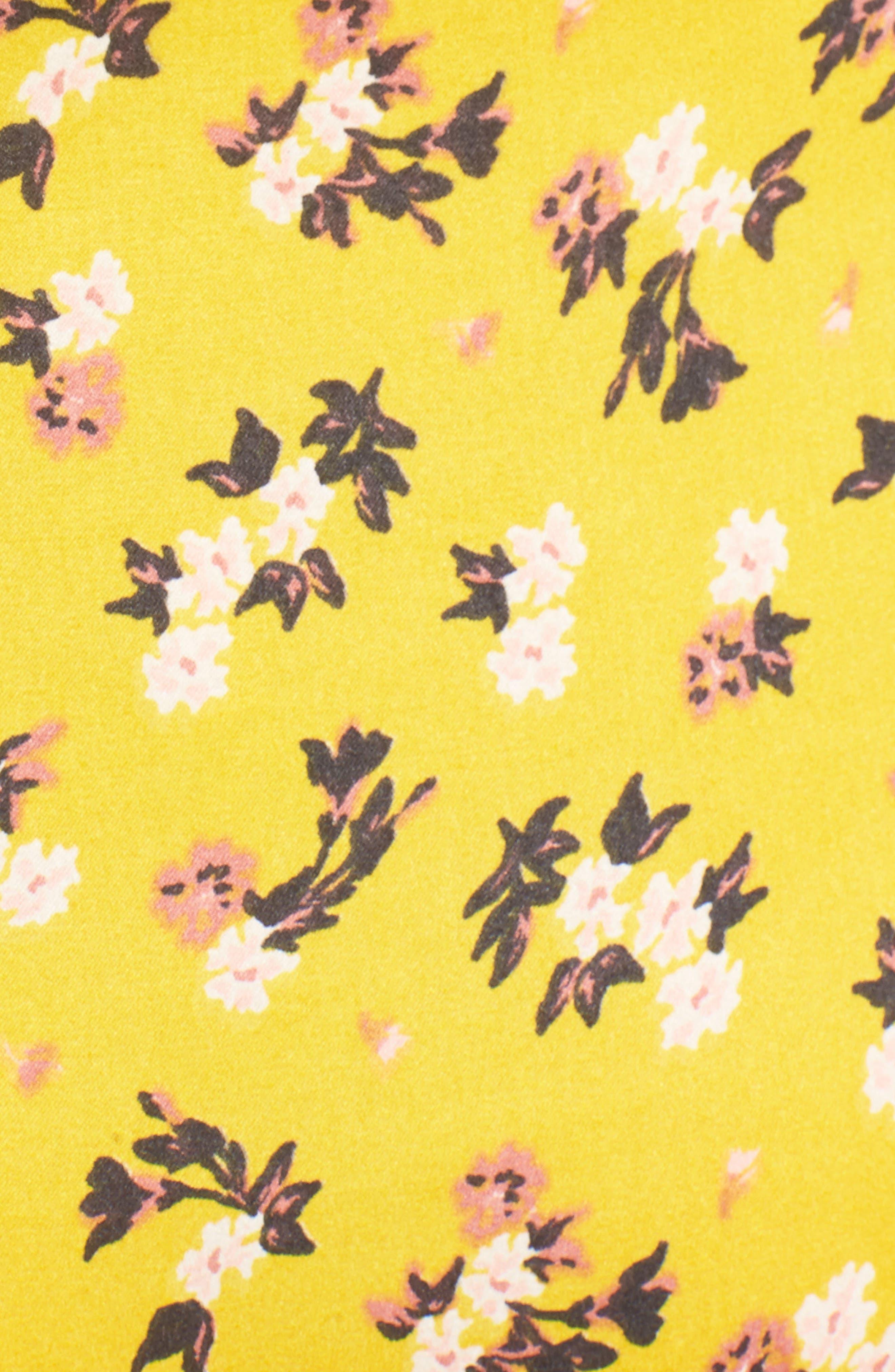 Floral Satin Maxi Dress,                             Alternate thumbnail 5, color,                             Burnt Gold