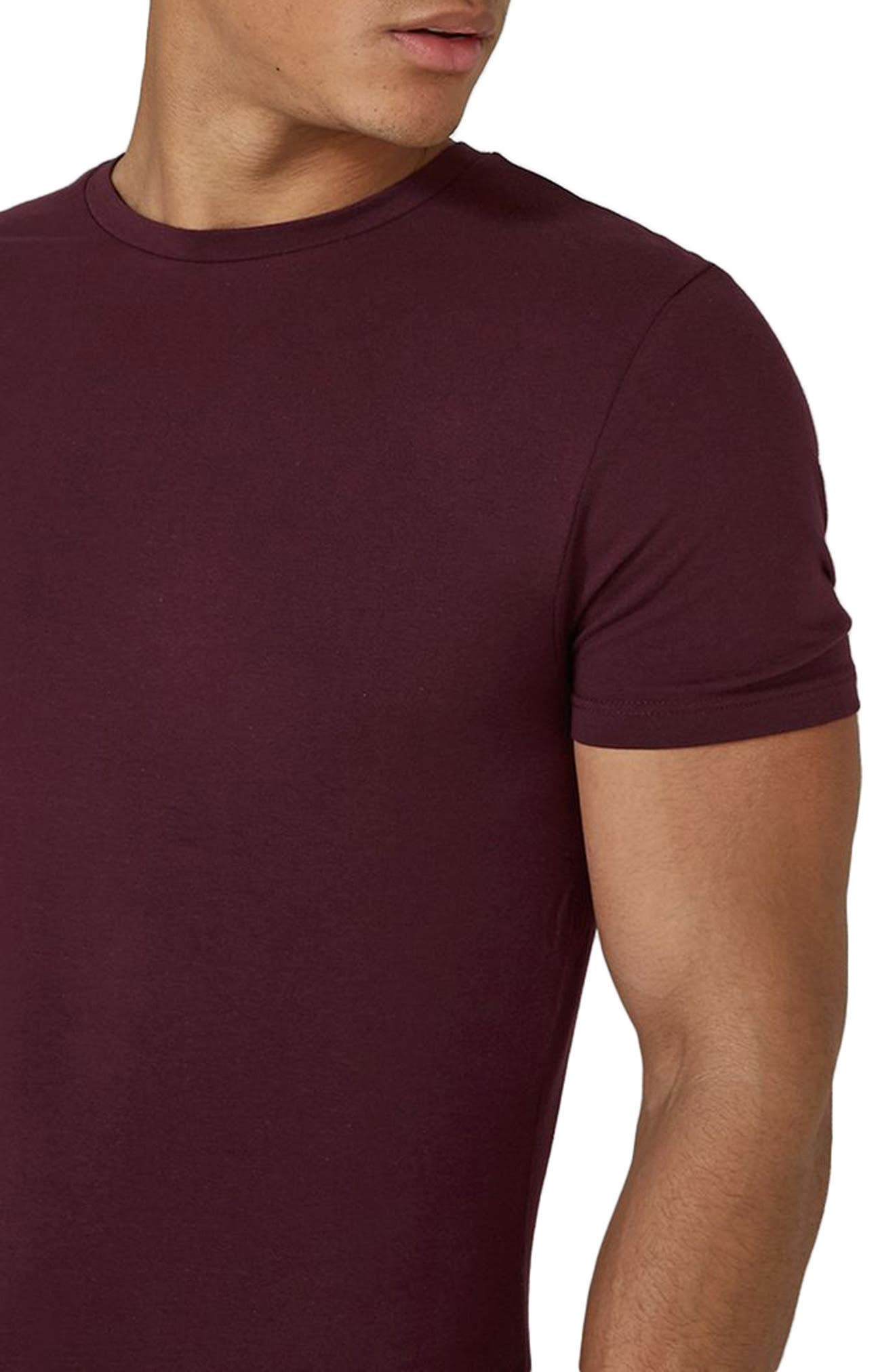 Ultra Muscle Fit T-Shirt,                             Alternate thumbnail 3, color,                             Burgundy