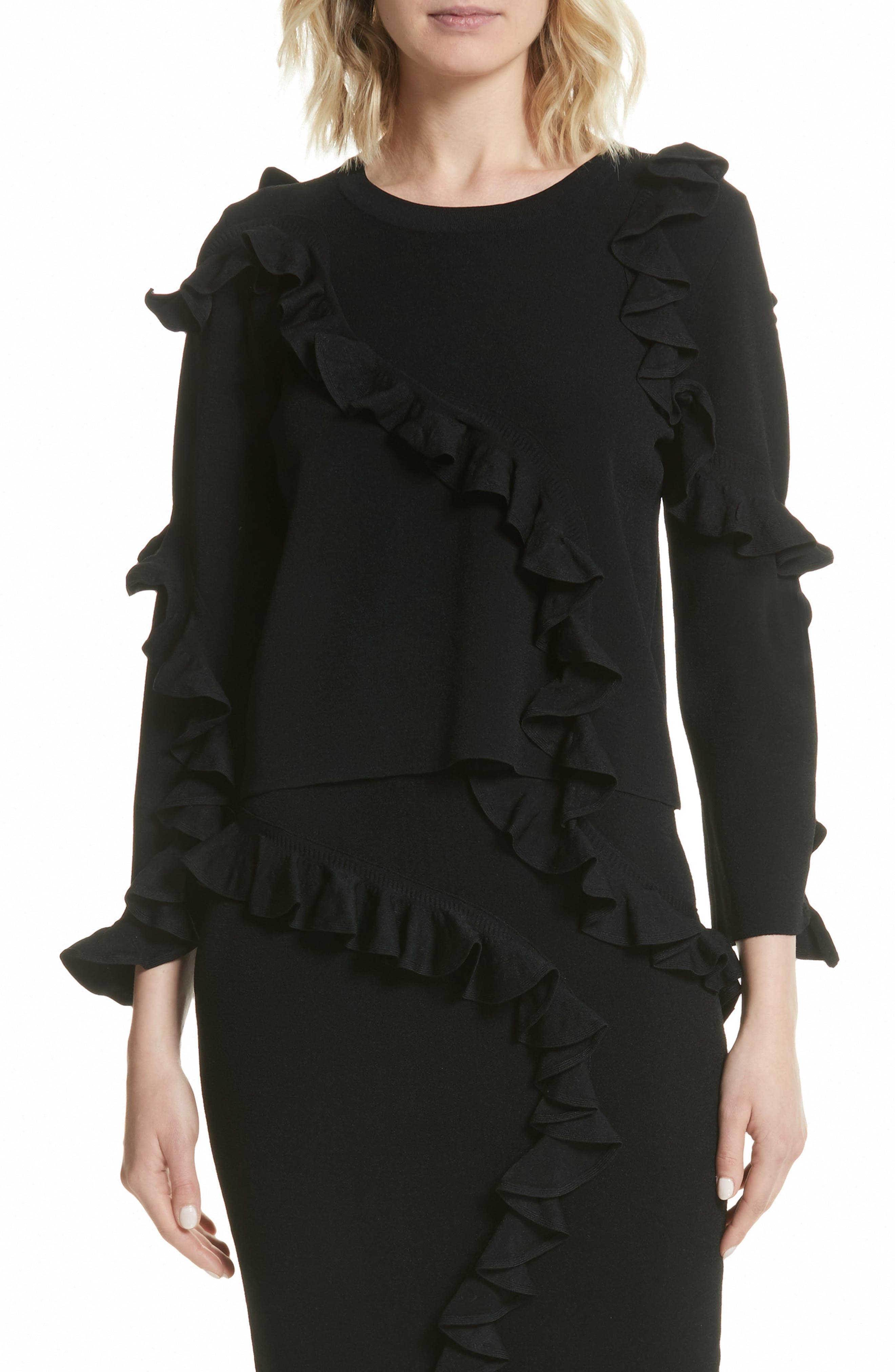 Abstract Ruffle Pullover,                         Main,                         color, Black
