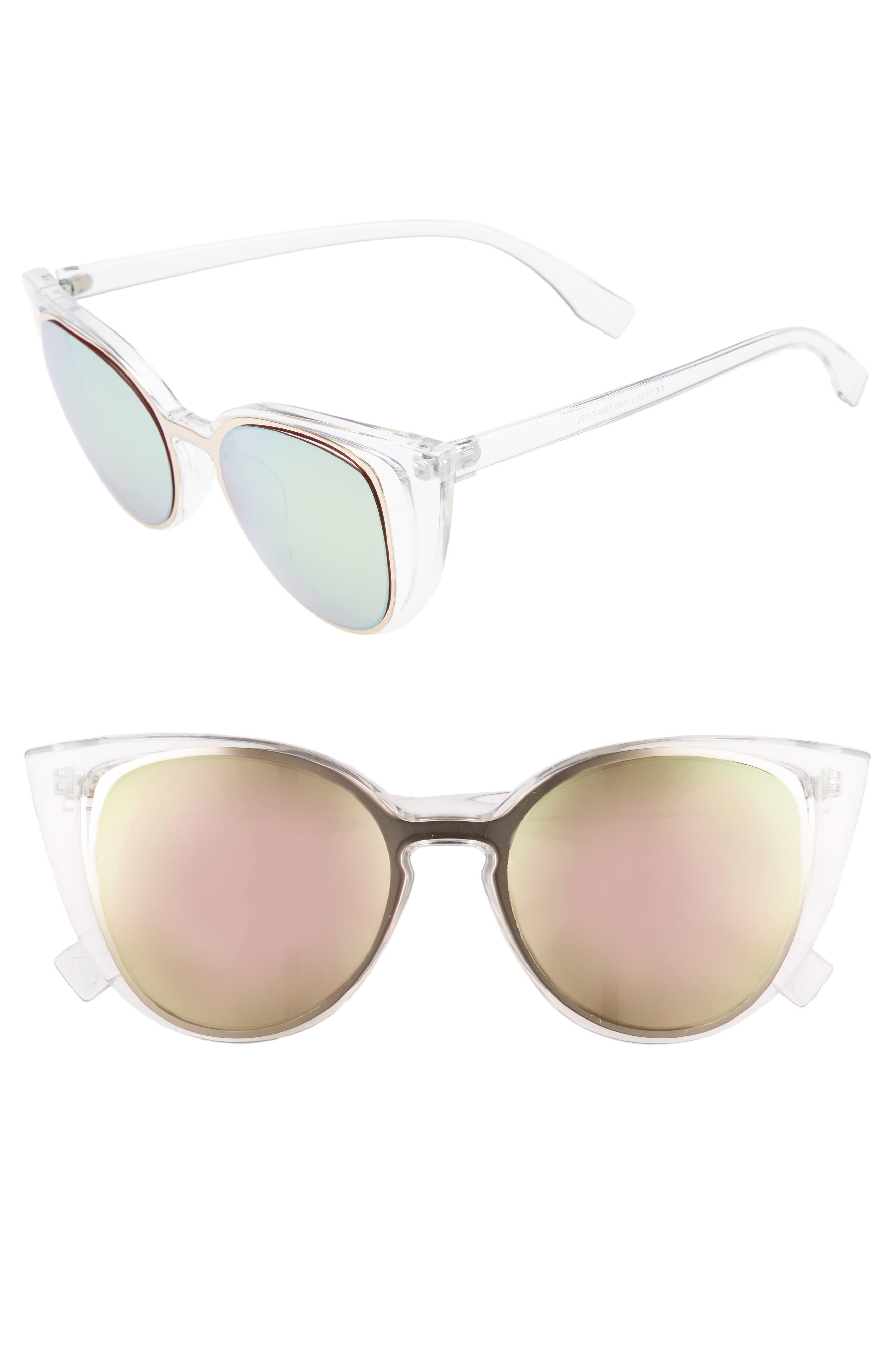 56mm Cutout Cat Eye Sunglasses,                             Main thumbnail 1, color,                             Clear/ Multi