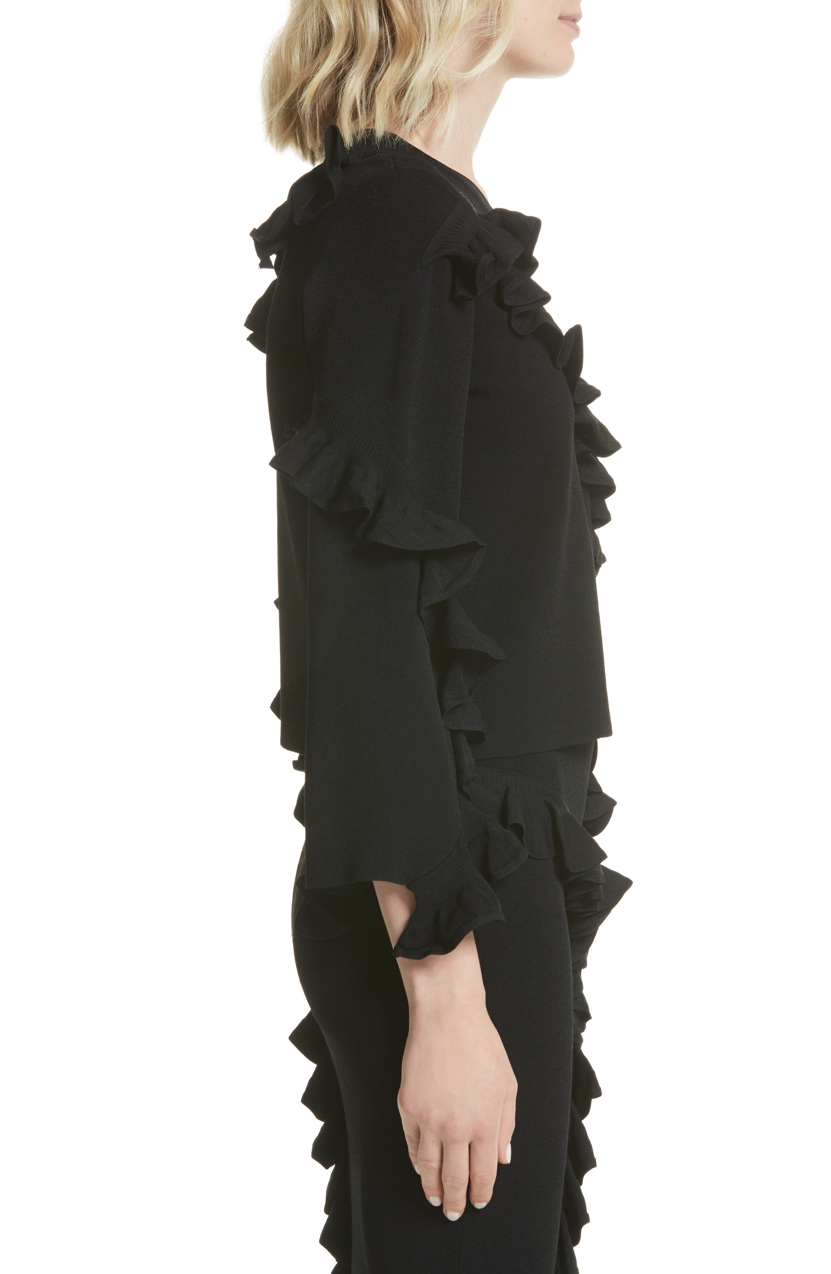 Abstract Ruffle Pullover,                             Alternate thumbnail 3, color,                             Black