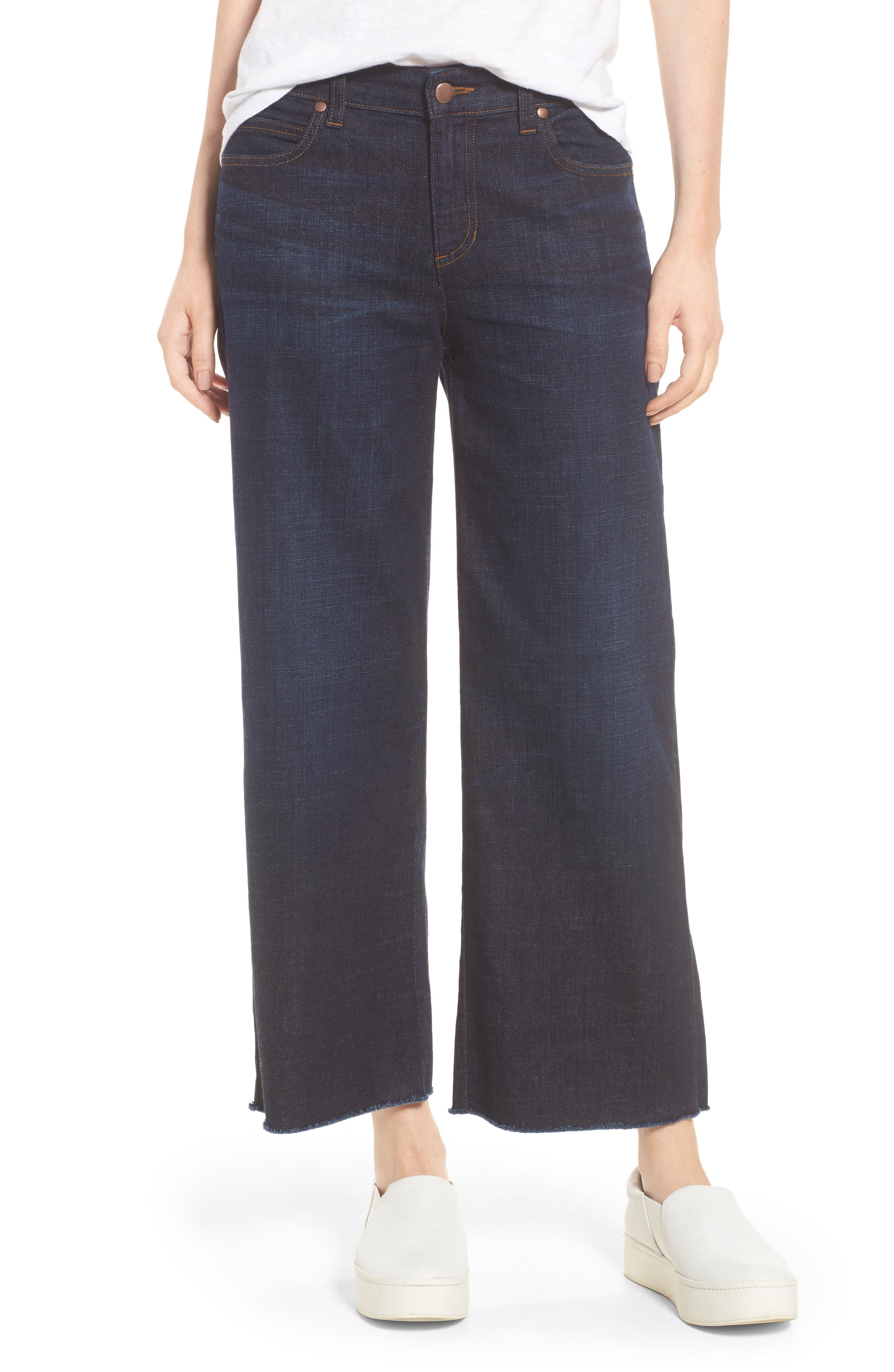 Eileen Fisher Frayed Wide Leg Ankle Jeans