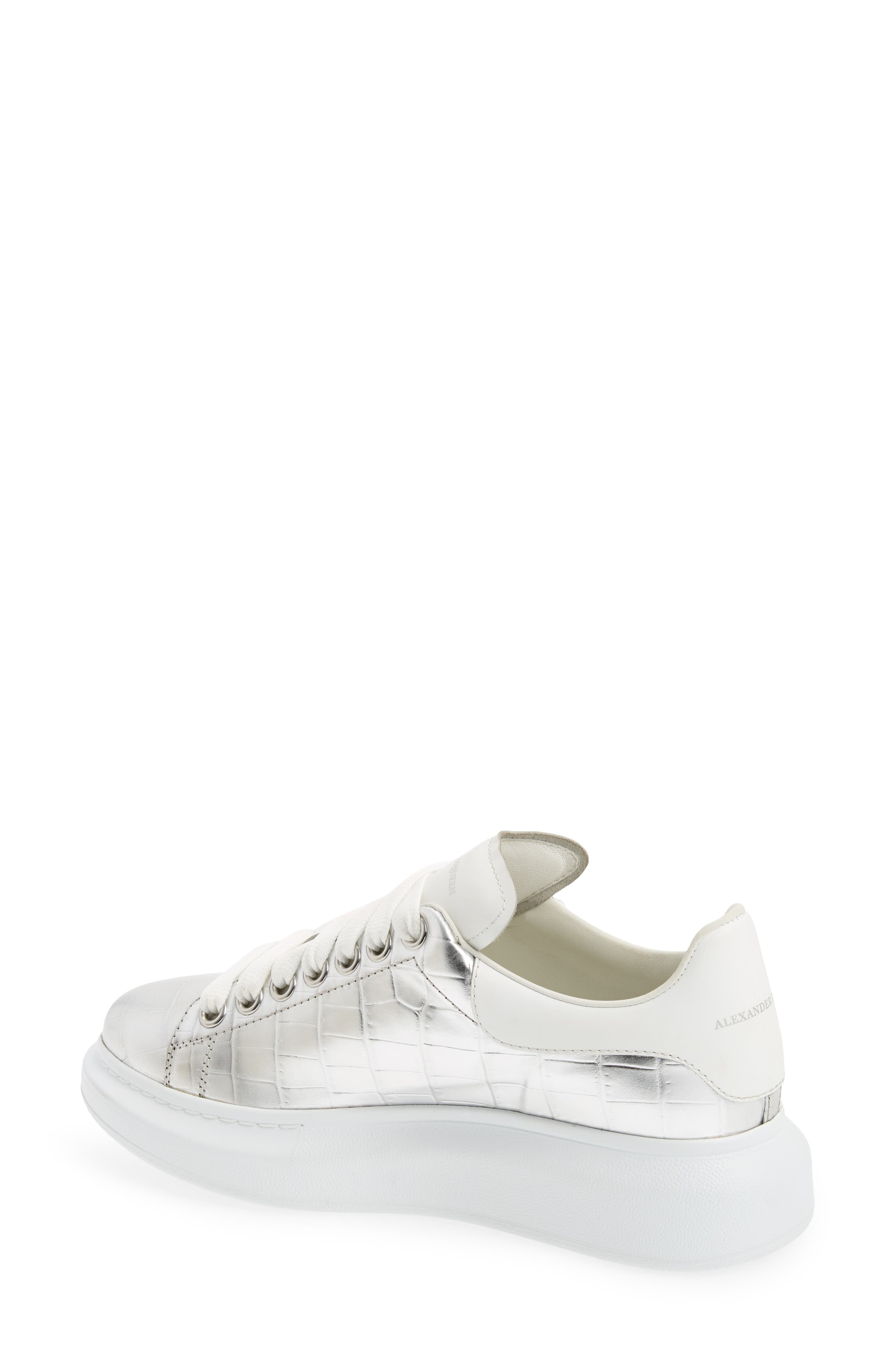 Croc Embossed Lace-Up Sneaker,                             Alternate thumbnail 2, color,                             Metallic Silver