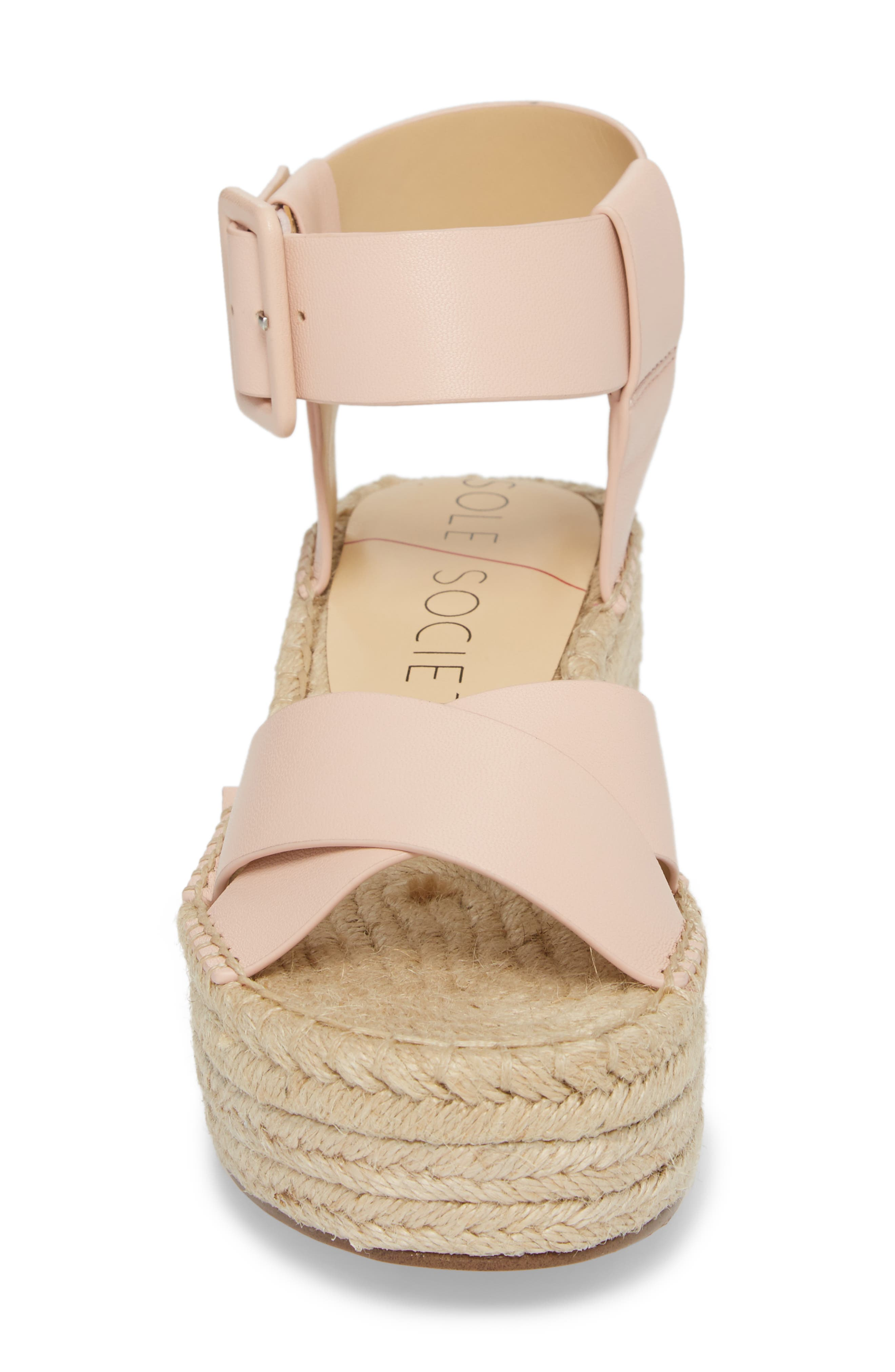 'Audrina' Platform Espadrille Sandal,                             Alternate thumbnail 4, color,                             Rose Blush