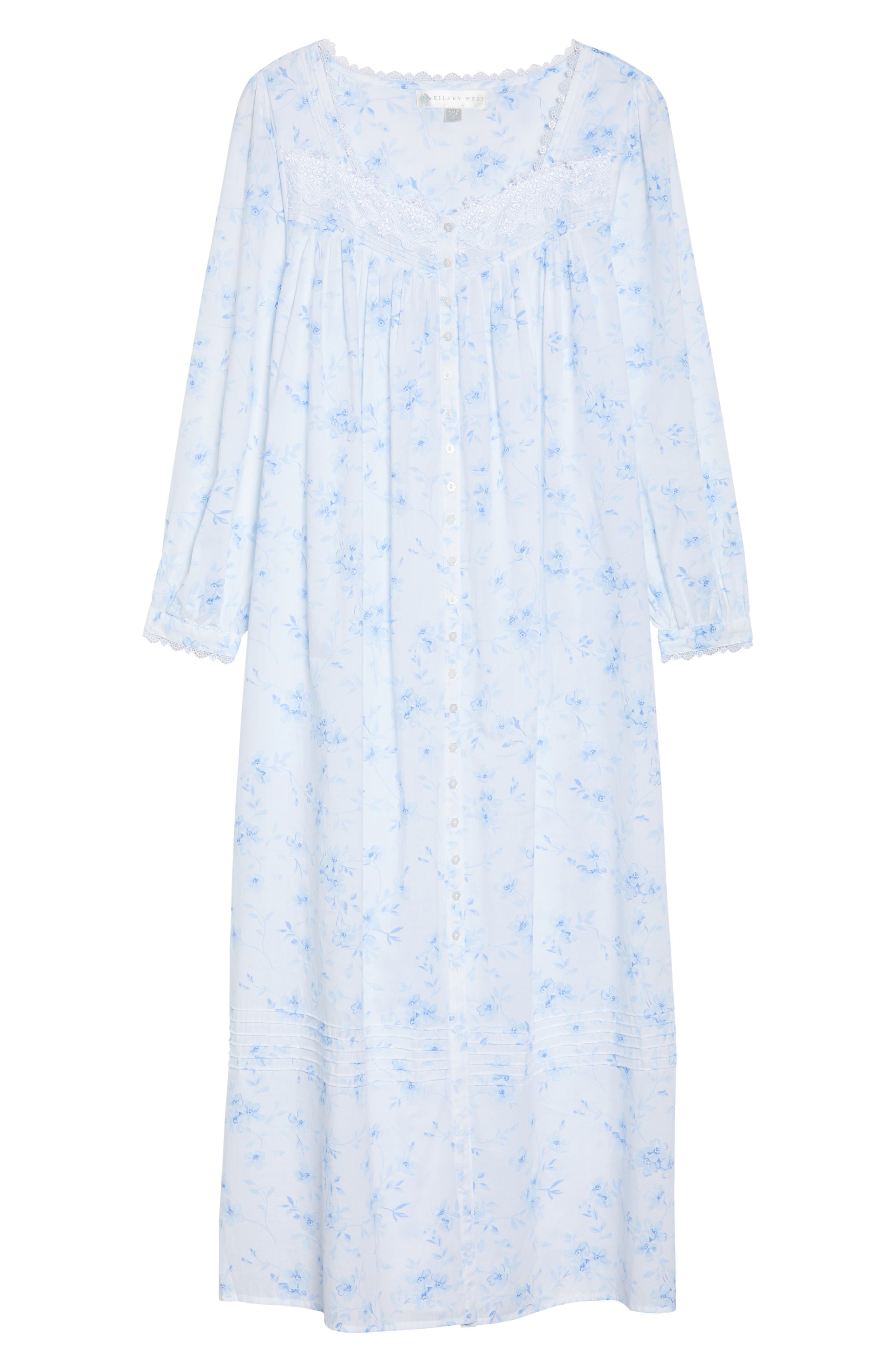 Cotton Lawn Ballet Nightgown,                             Alternate thumbnail 4, color,                             White Mono Floral